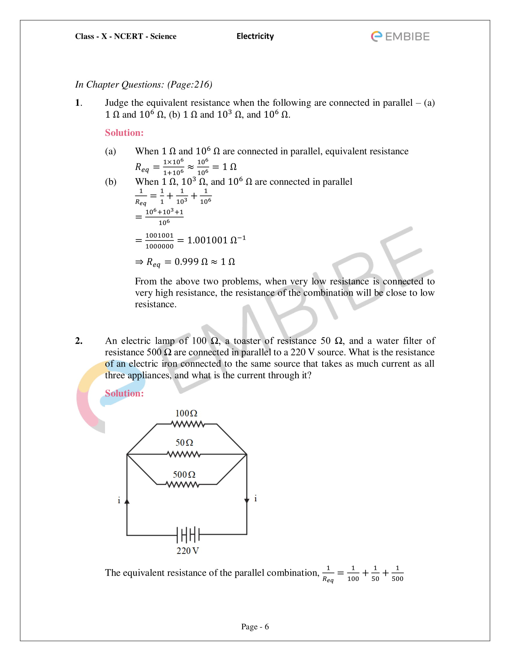 CBSE NCERT Solutions For Class 10 Science Chapter 12 - Electricity - 6