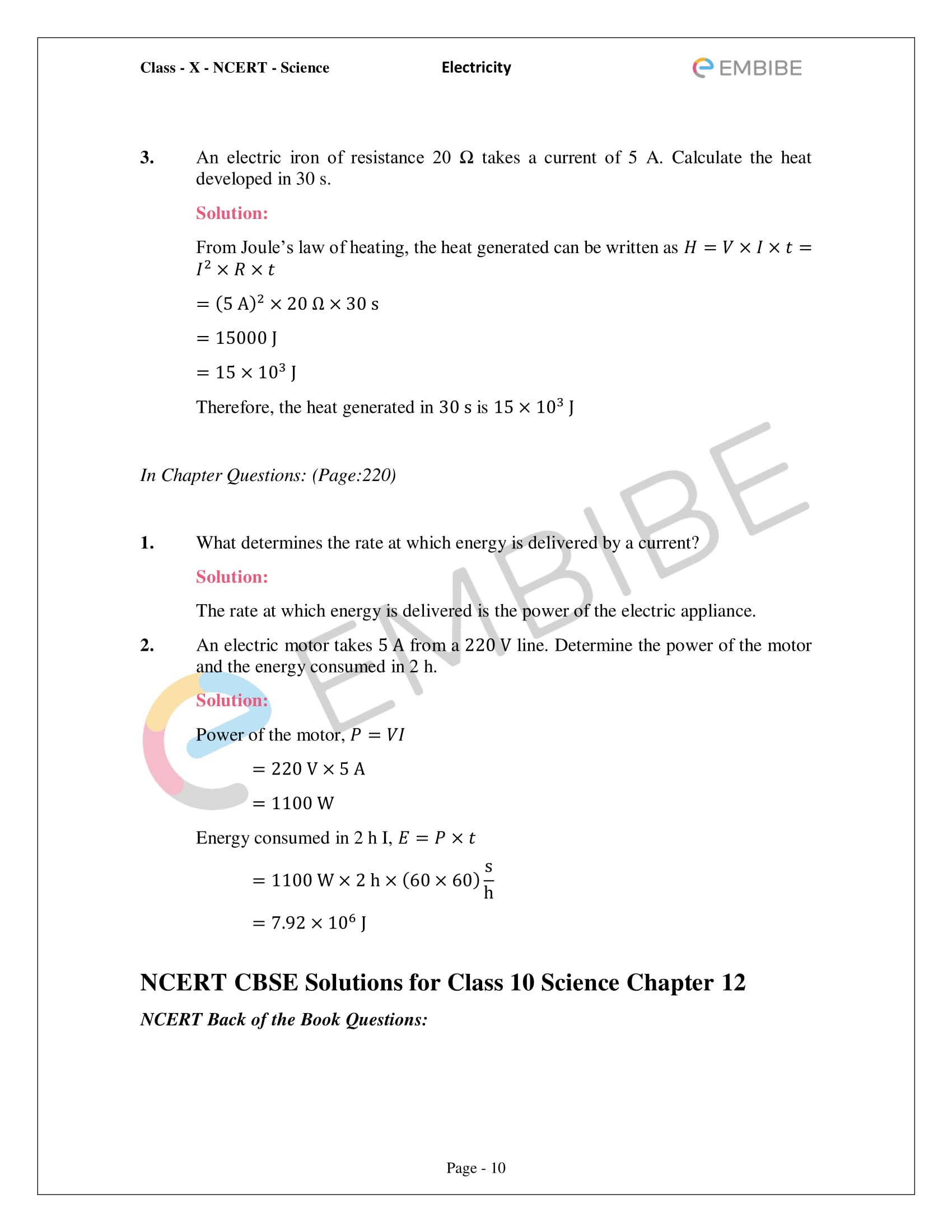 CBSE NCERT Solutions For Class 10 Science Chapter 12 - Electricity - 10