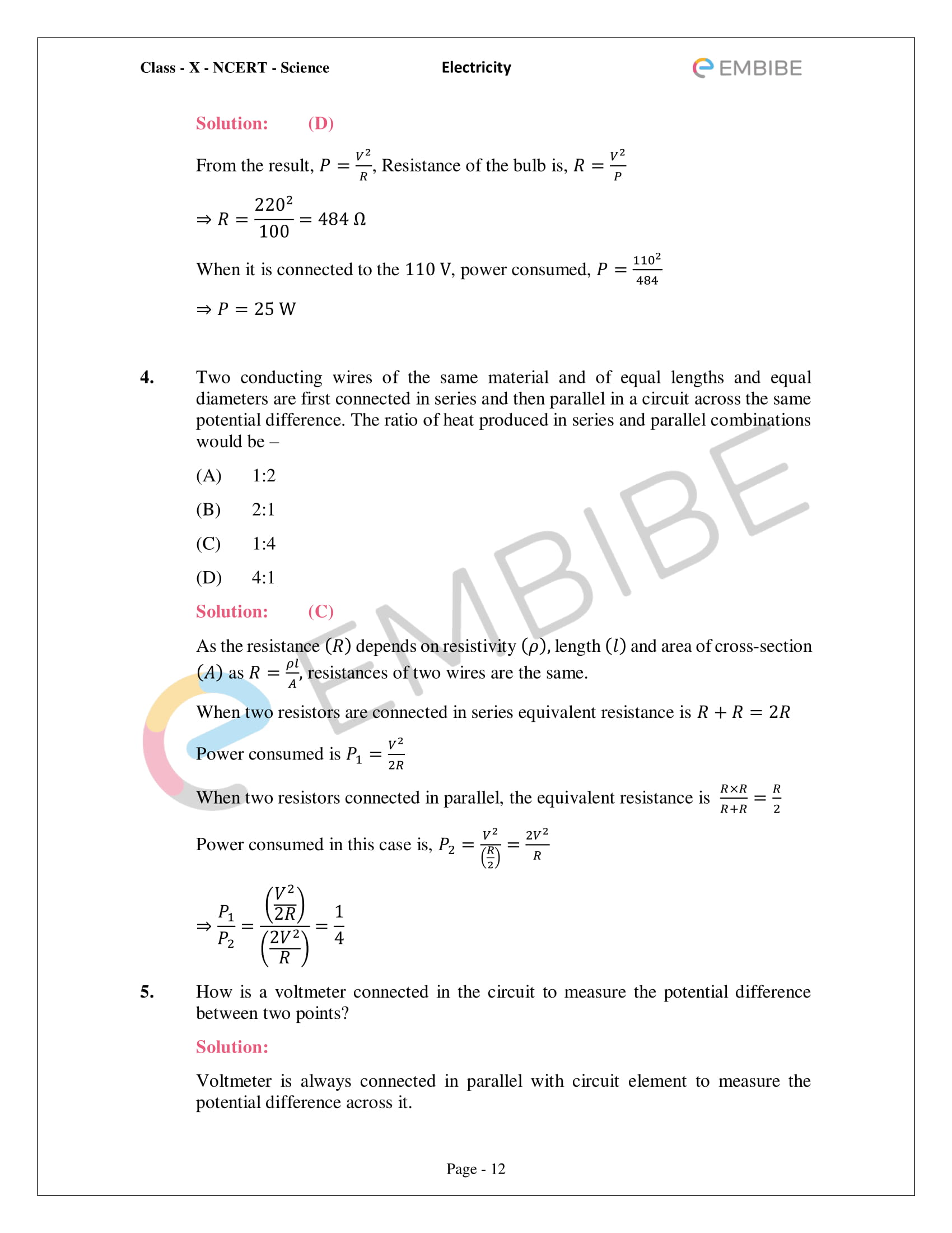 CBSE NCERT Solutions For Class 10 Science Chapter 12 - Electricity - 12