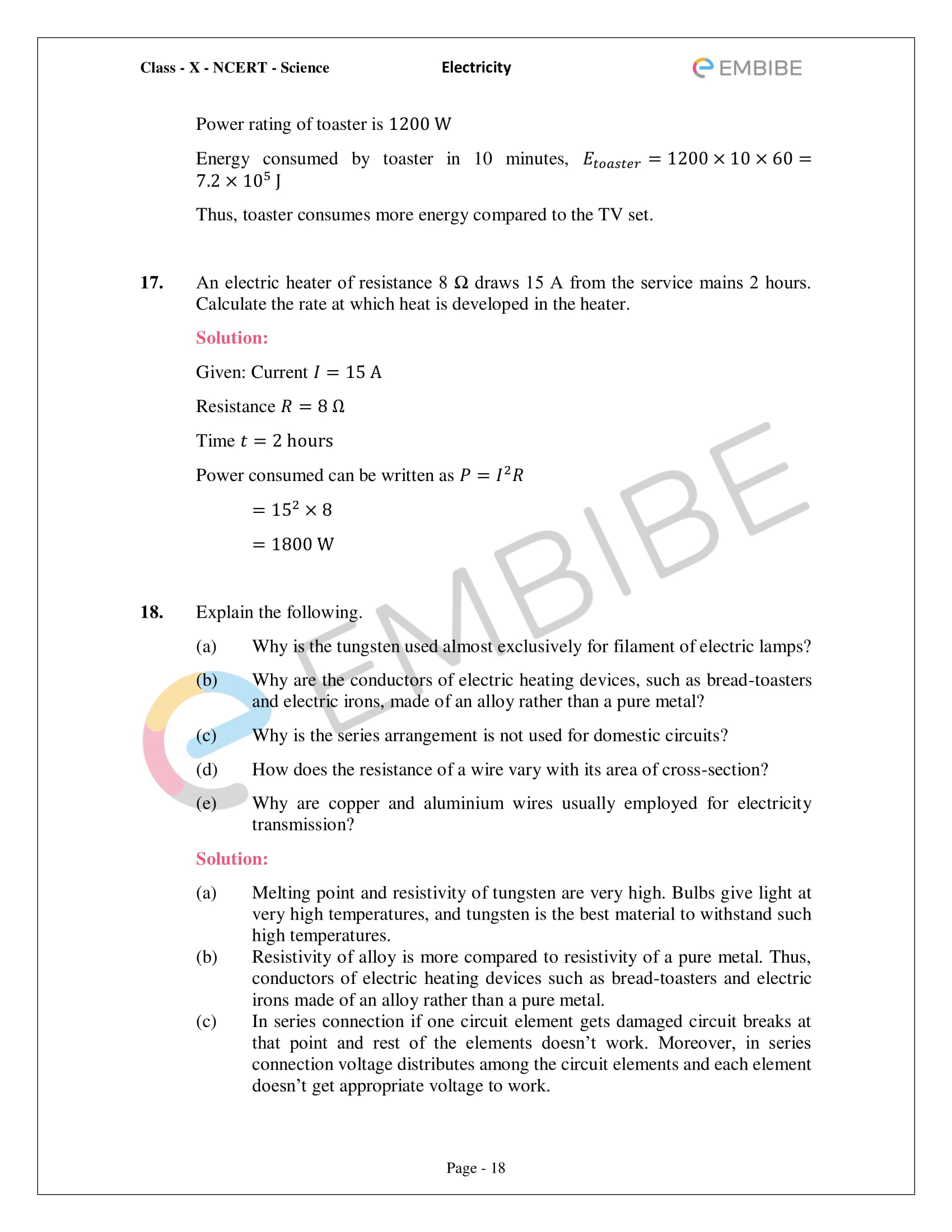 CBSE NCERT Solutions For Class 10 Science Chapter 12 - Electricity - 18