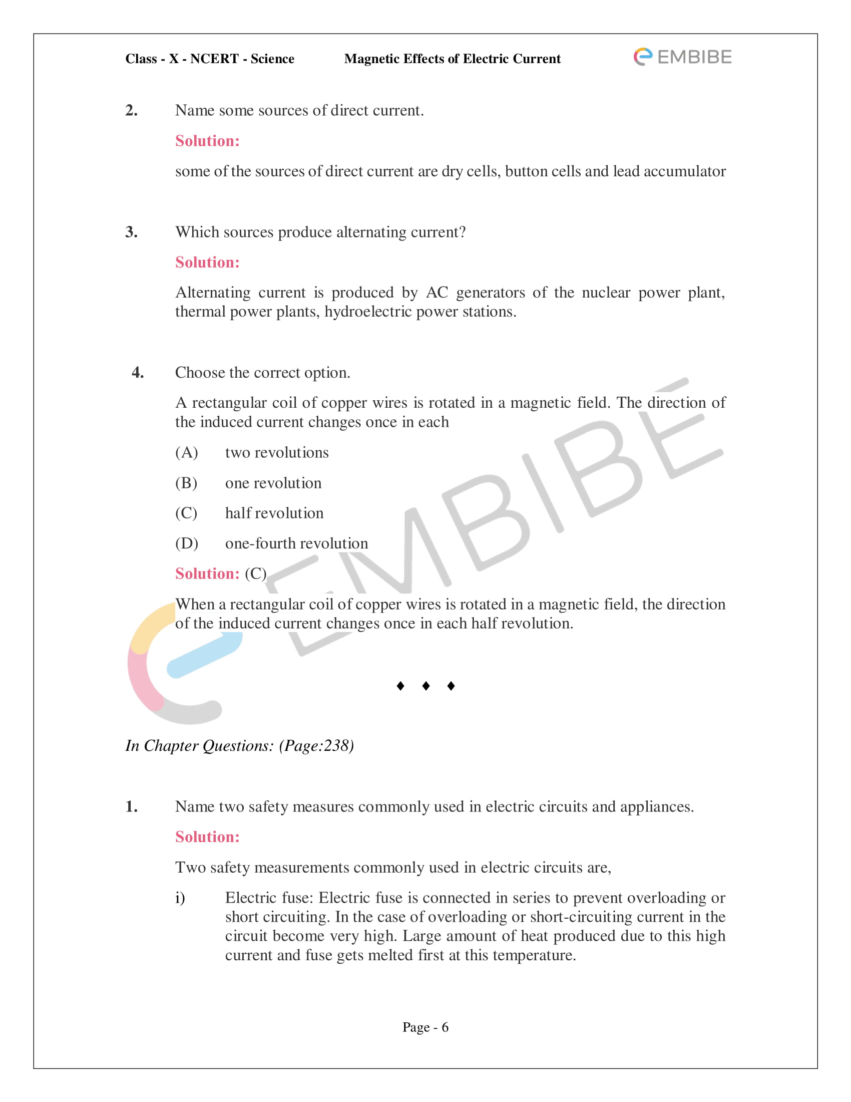CBSE NCERT Solutions For Class 10 Science Chapter 13 - Magnetic Effects of Electric Current - 6