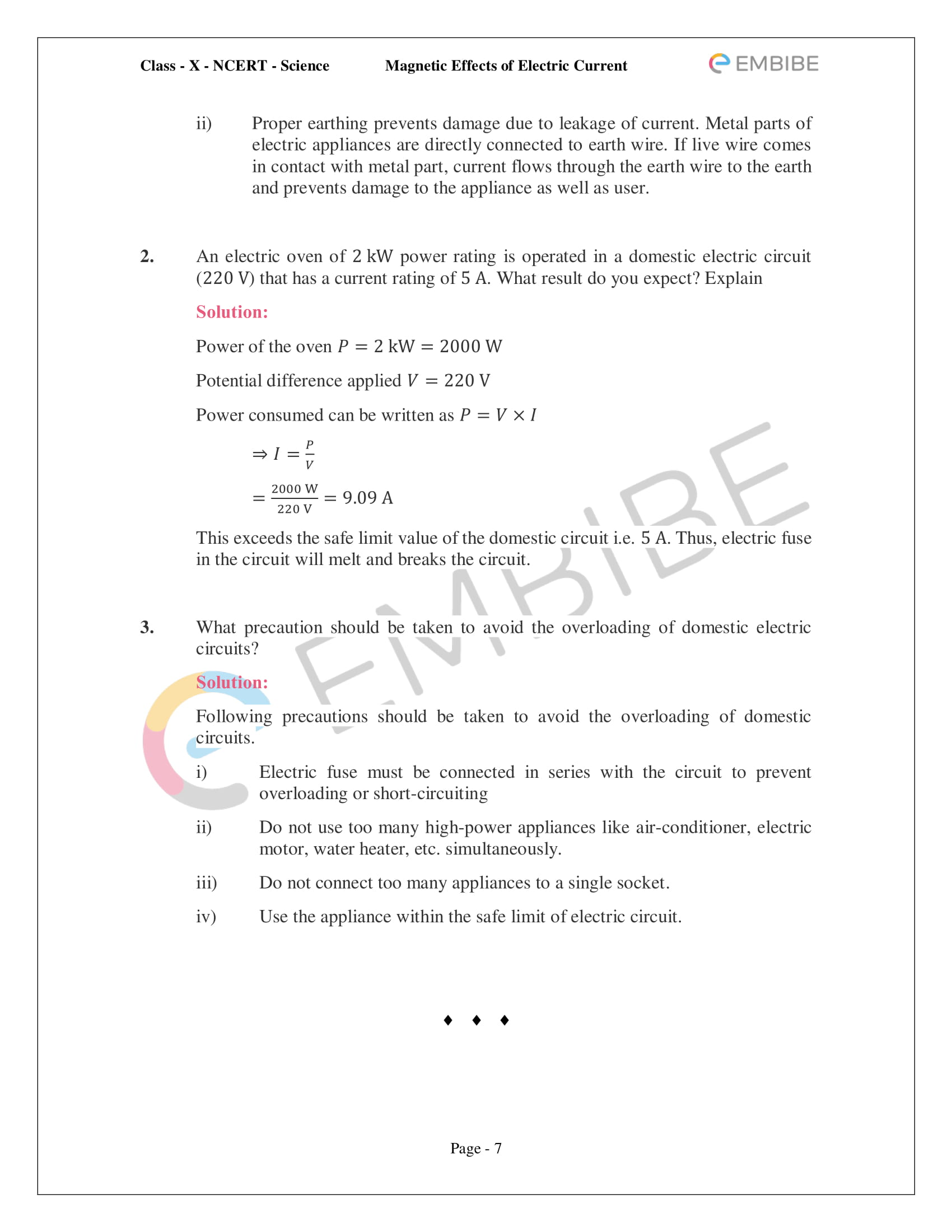 CBSE NCERT Solutions For Class 10 Science Chapter 13 - Magnetic Effects of Electric Current - 7