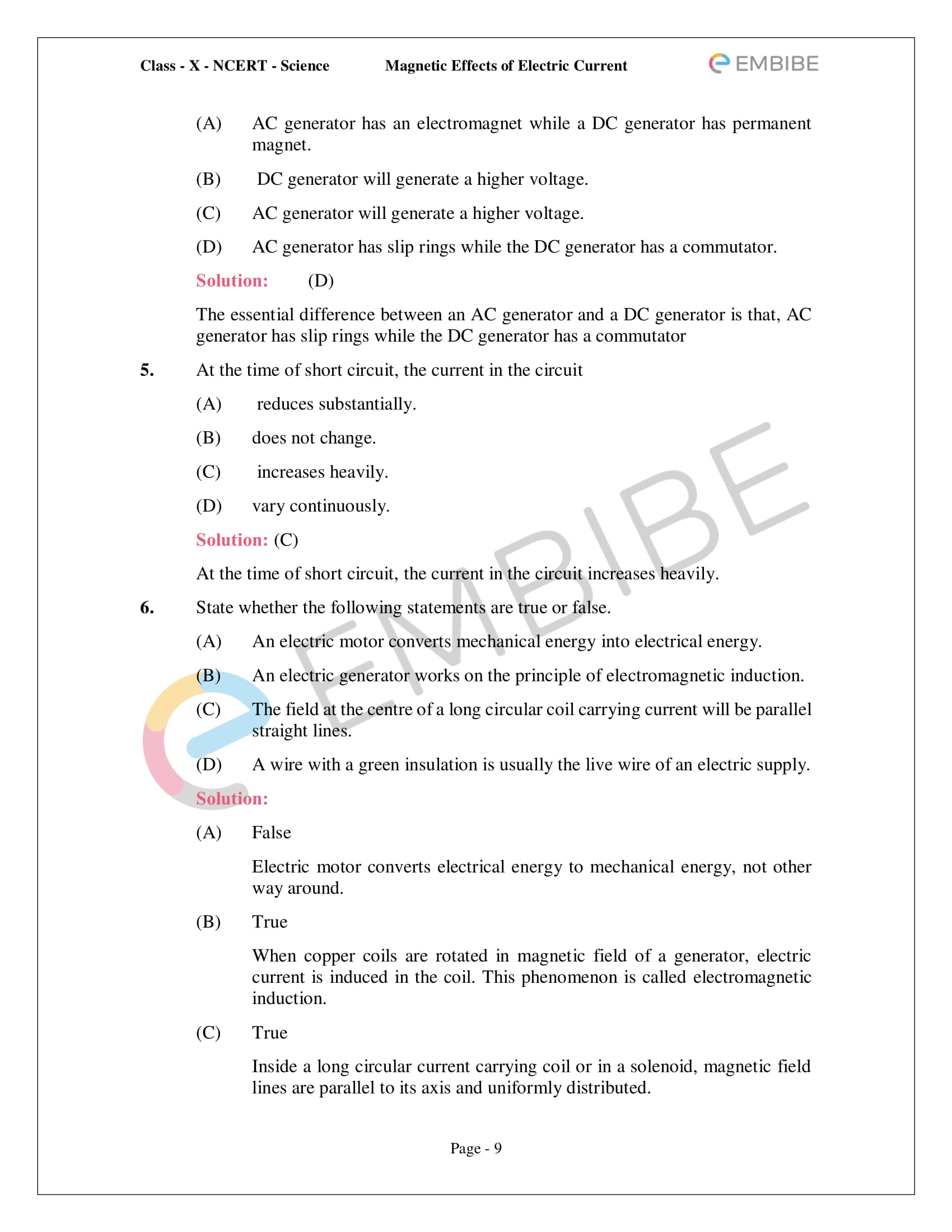 CBSE NCERT Solutions For Class 10 Science Chapter 13 - Magnetic Effects of Electric Current - 9