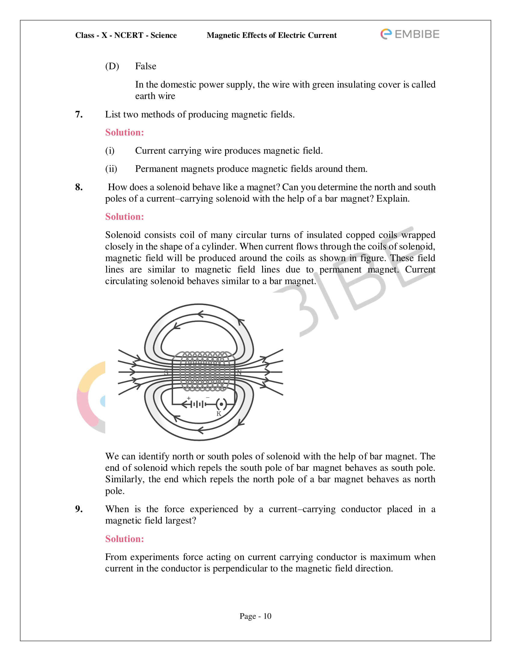 CBSE NCERT Solutions For Class 10 Science Chapter 13 - Magnetic Effects of Electric Current - 10