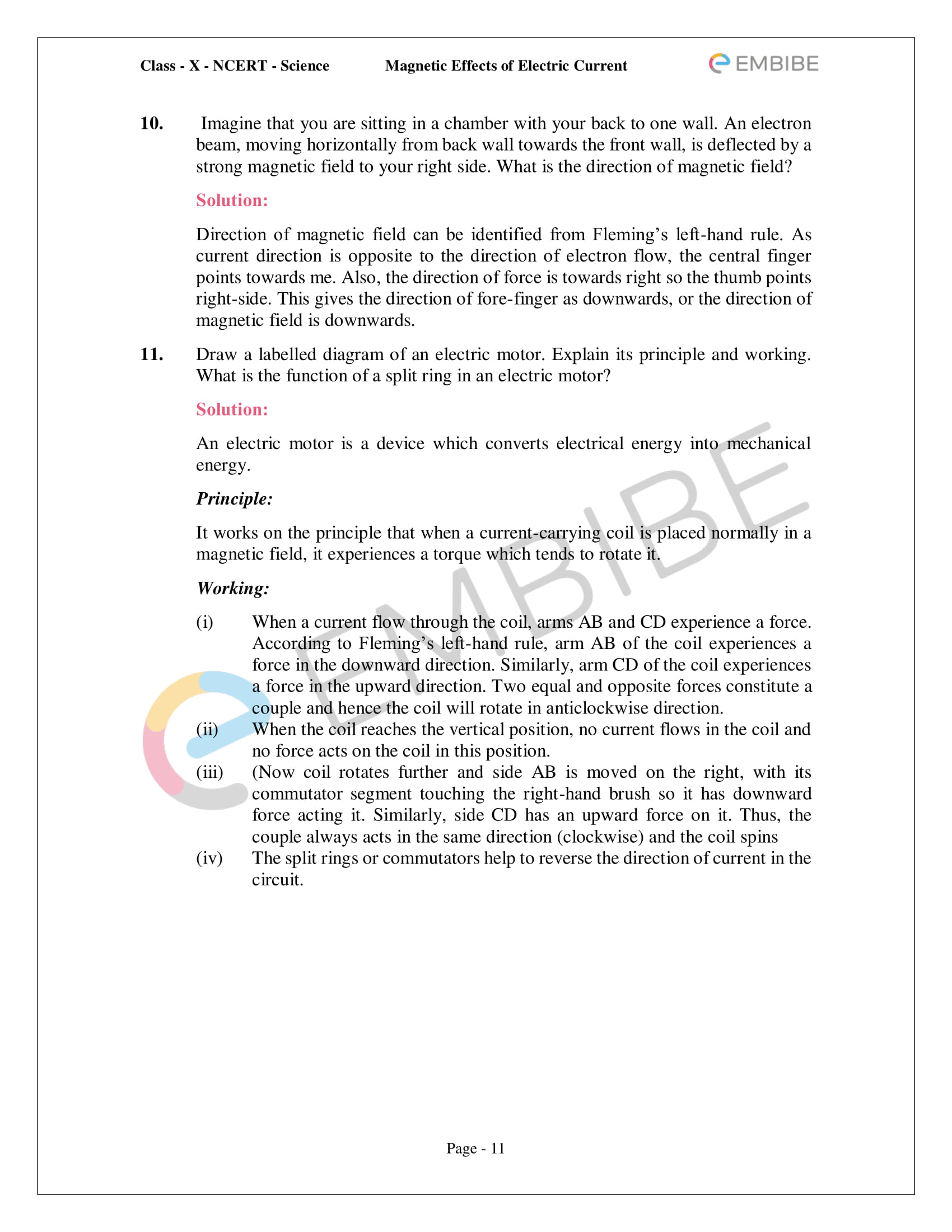 CBSE NCERT Solutions For Class 10 Science Chapter 13 - Magnetic Effects of Electric Current - 11