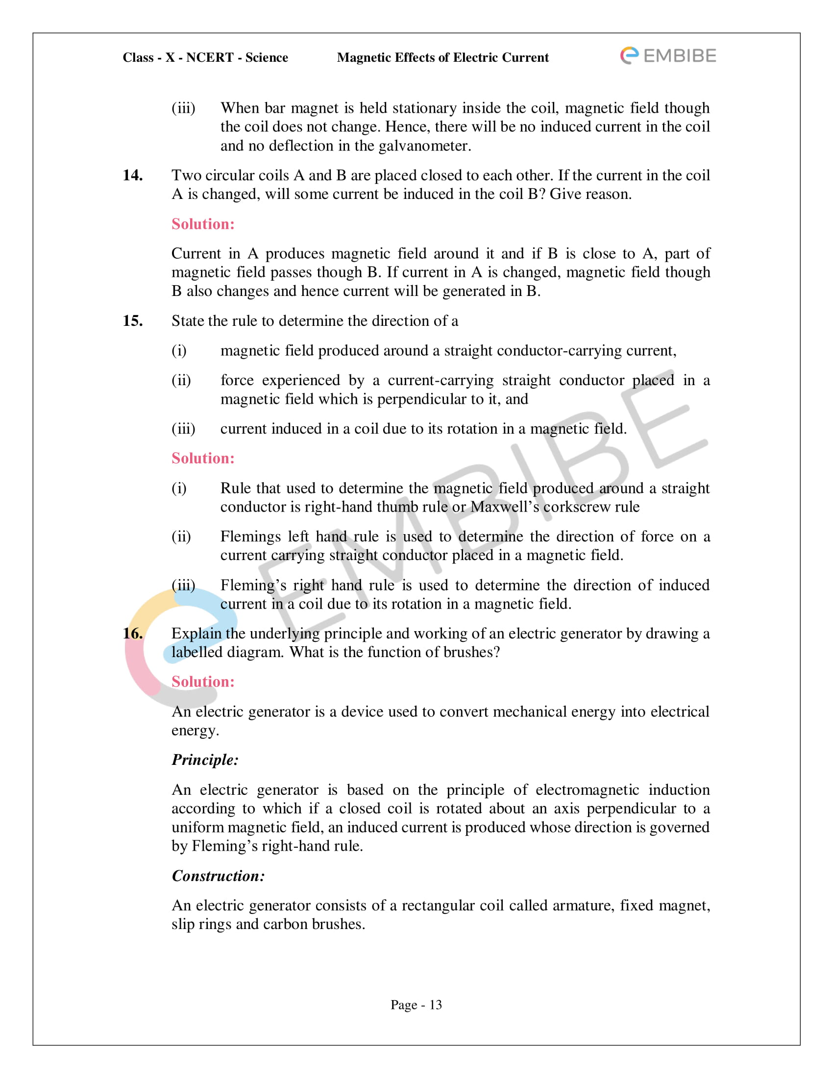 CBSE NCERT Solutions For Class 10 Science Chapter 13 - Magnetic Effects of Electric Current - 13
