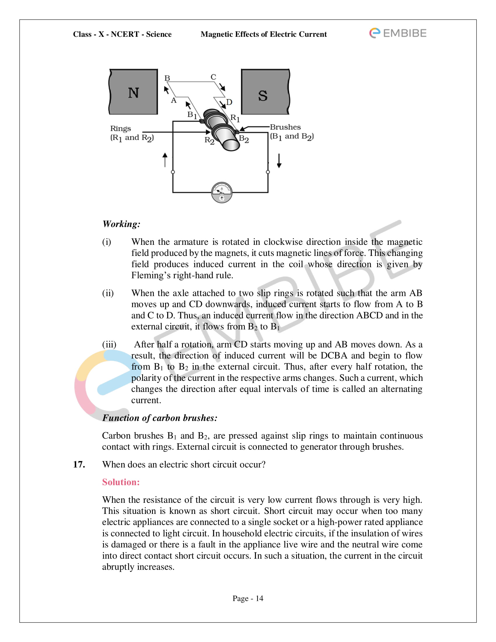 CBSE NCERT Solutions For Class 10 Science Chapter 13 - Magnetic Effects of Electric Current - 14