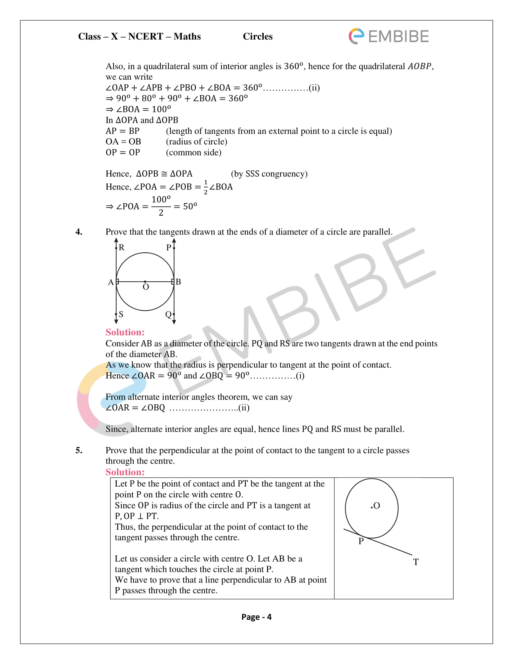 NCERT Solutions For Class 10 Maths Chapter 10: Circles (PDF