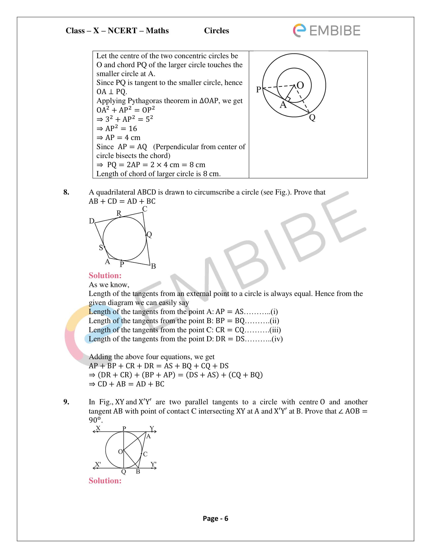 CBSE NCERT Solutions For Class 10 Maths Chapter 10 - Circles