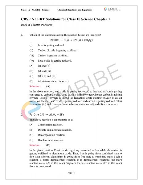 NCERT Solutions for Class 10 Science Chapter 1: Chemical Reactions & Equations (Download PDF)
