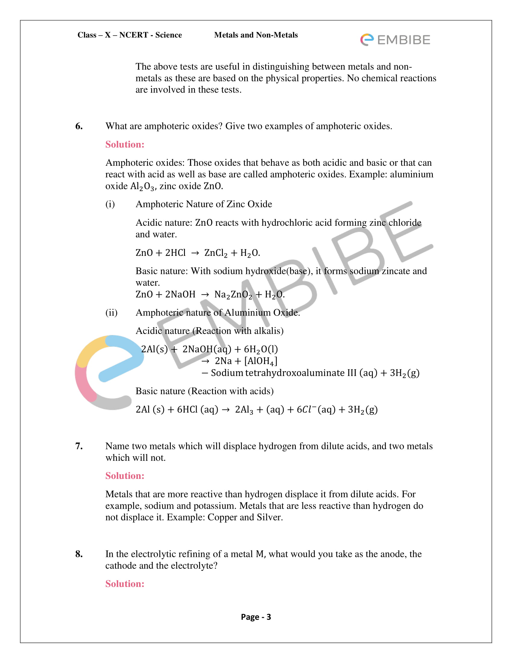CBSE NCERT Solutions For Class 10 Science Chapter 3: Metals and Non-Metals