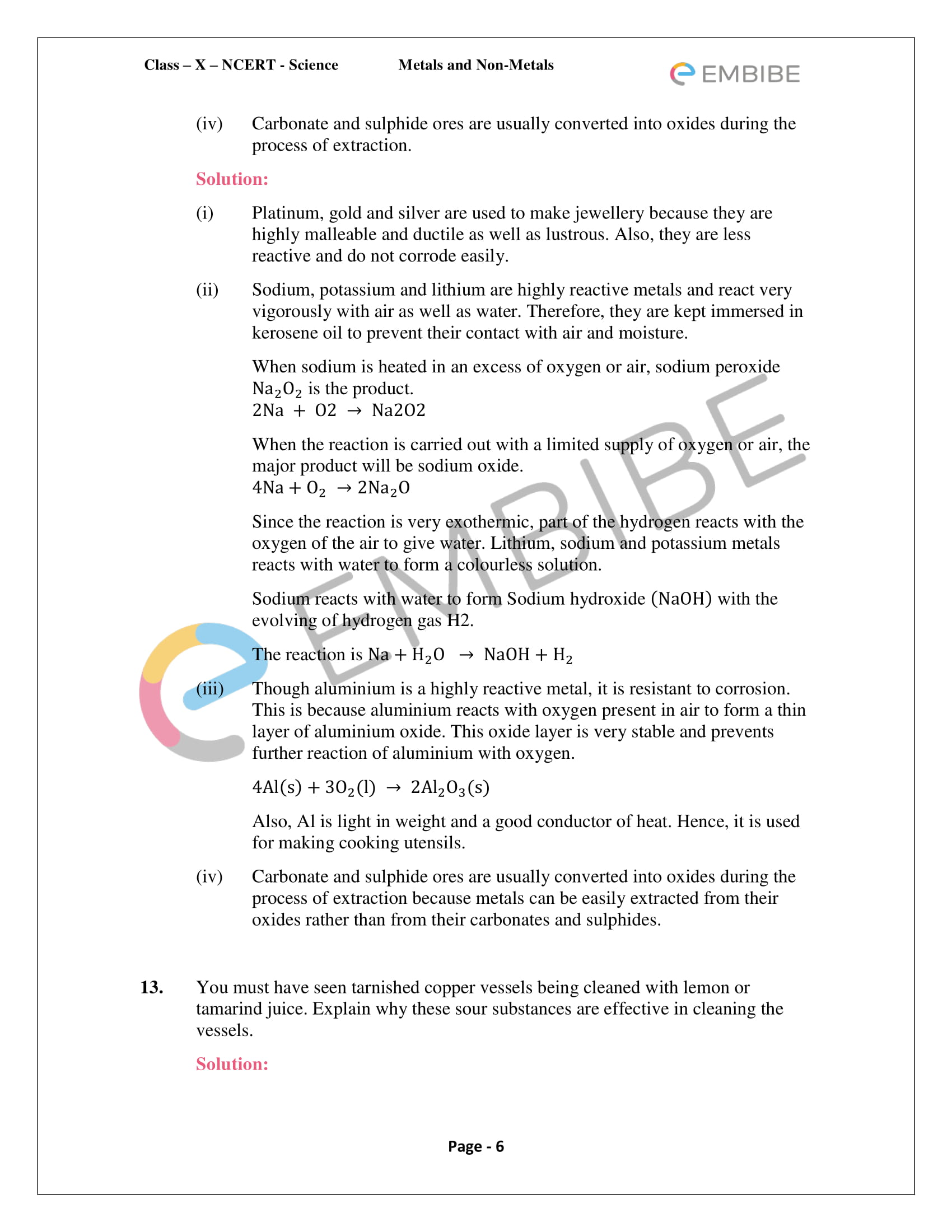 NCERT Solutions For Class 10 Science Chapter 3: Metals and
