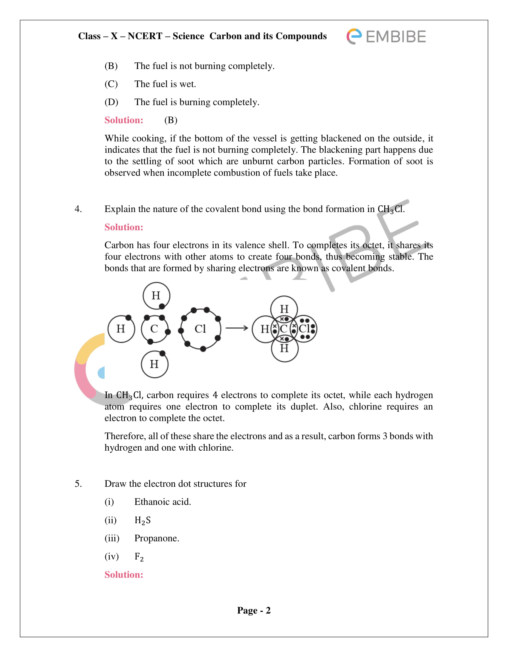 CBSE NCERT Solutions For Class 10 Science Chapter 4: Carbon And Its Compounds - PDF
