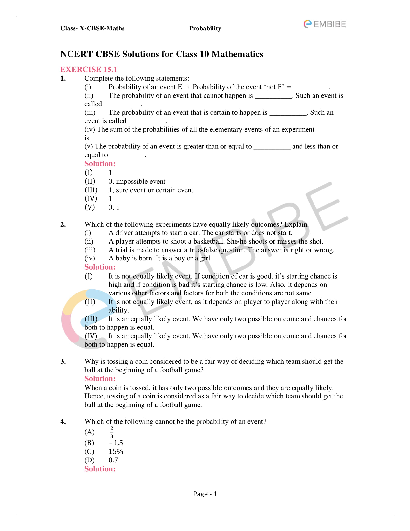 CBSE NCERT Solutions For Class 10 Maths Chapter 15 - Probability - 1