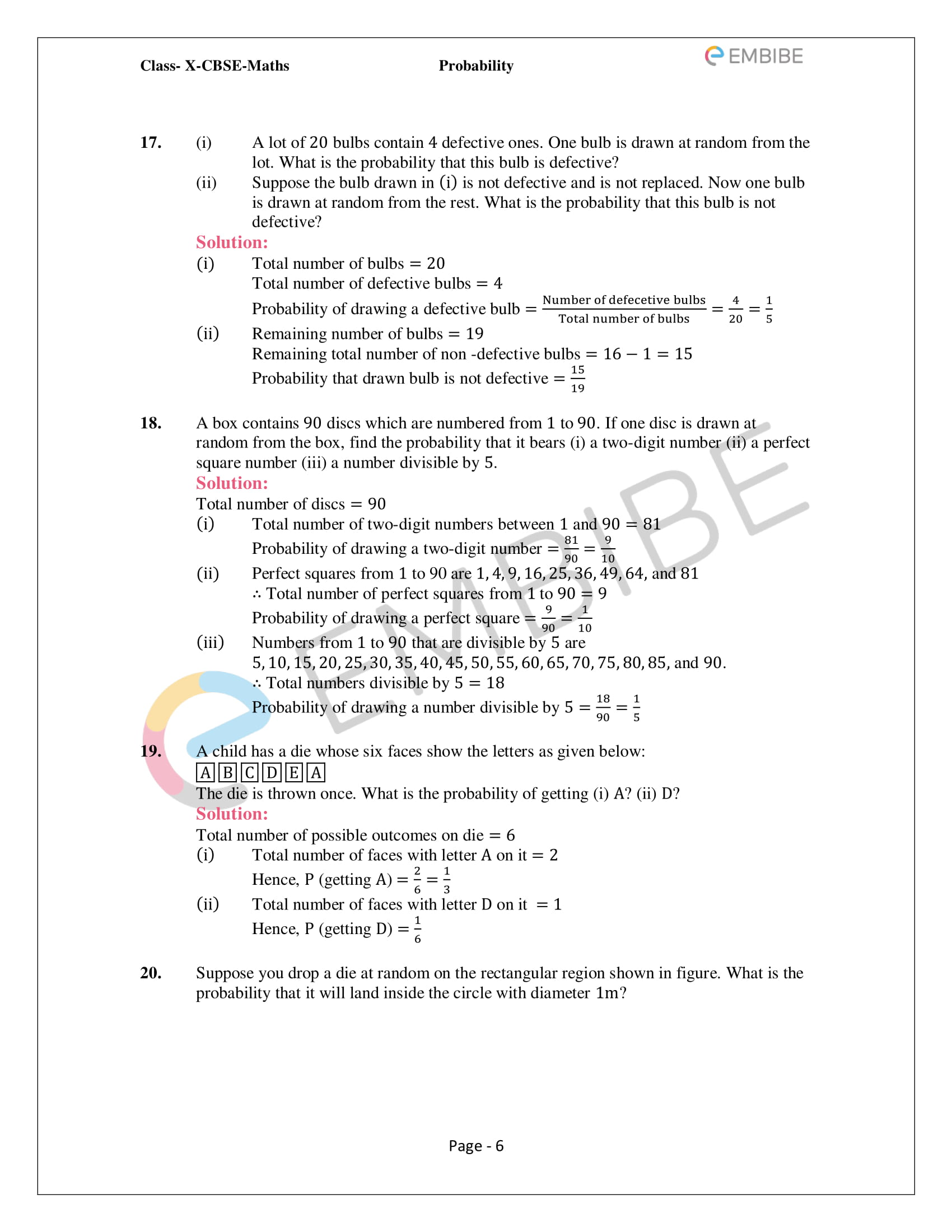 CBSE NCERT Solutions For Class 10 Maths Chapter 15 - Probability - 6