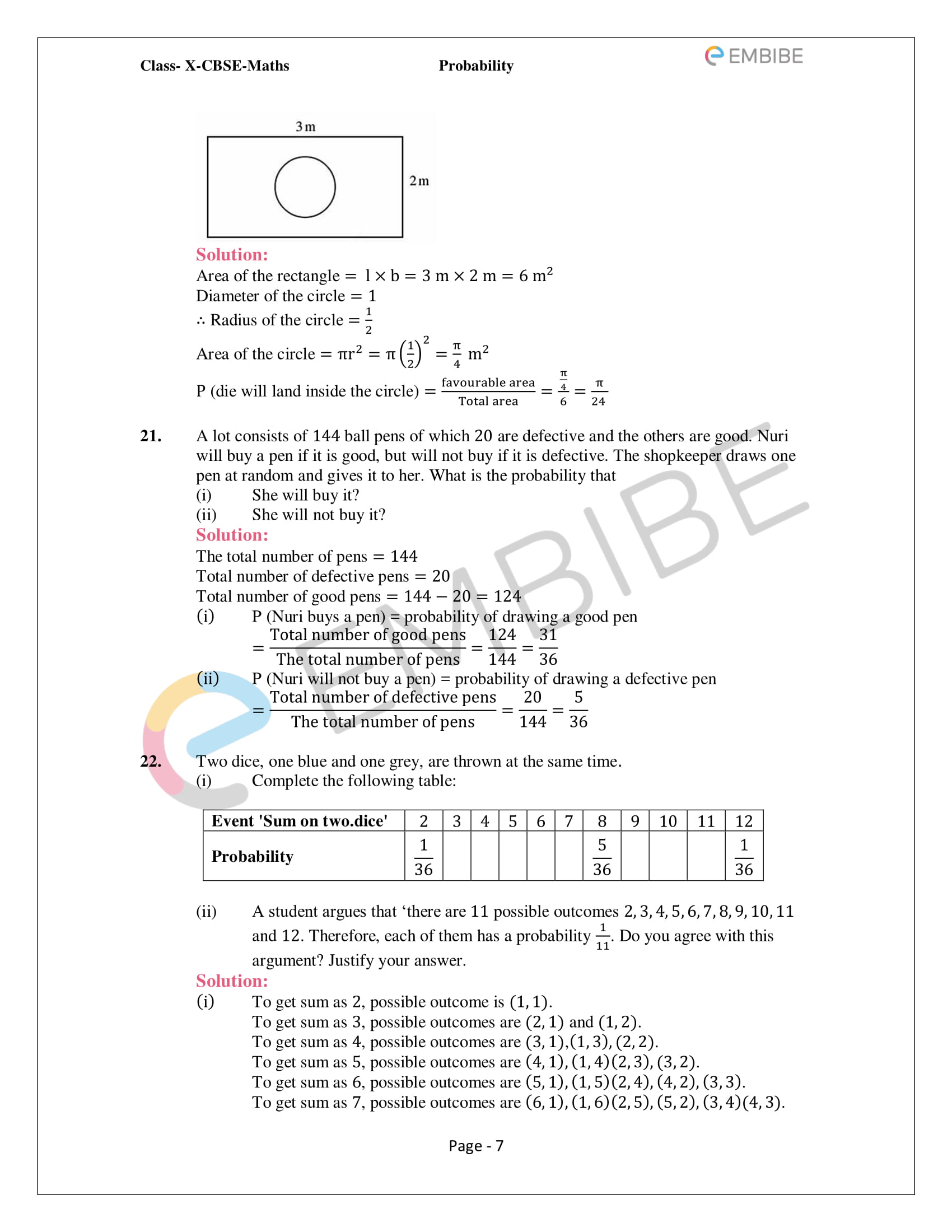 CBSE NCERT Solutions For Class 10 Maths Chapter 15 - Probability - 7