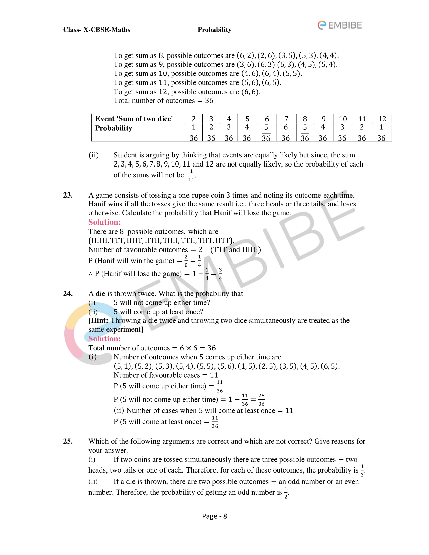 CBSE NCERT Solutions For Class 10 Maths Chapter 15 - Probability - 8