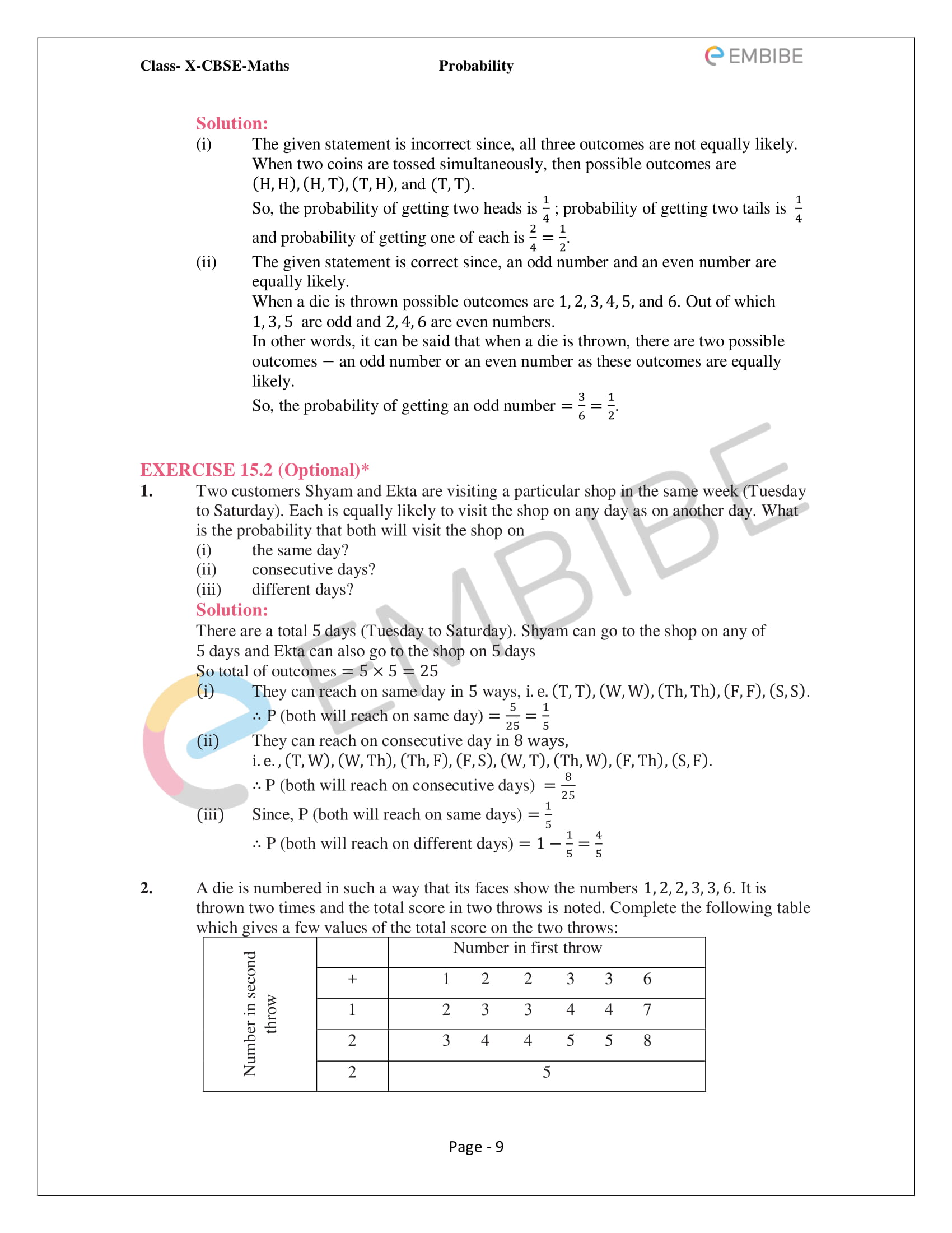 CBSE NCERT Solutions For Class 10 Maths Chapter 15 - Probability - 9