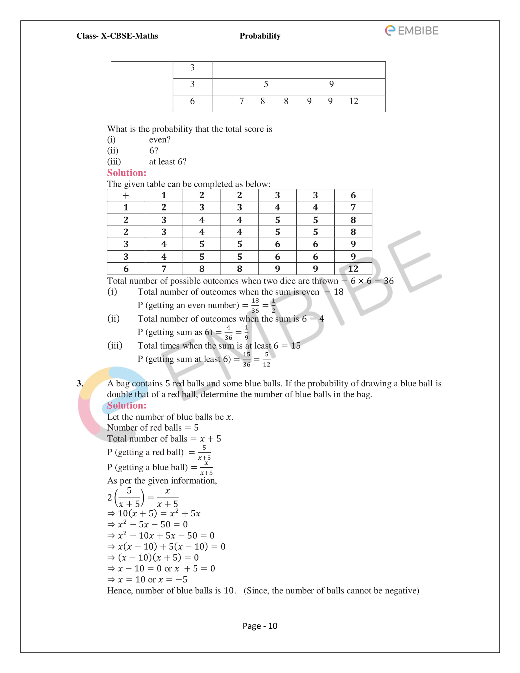 NCERT Solutions For Class 10 Maths Chapter 15: Probability