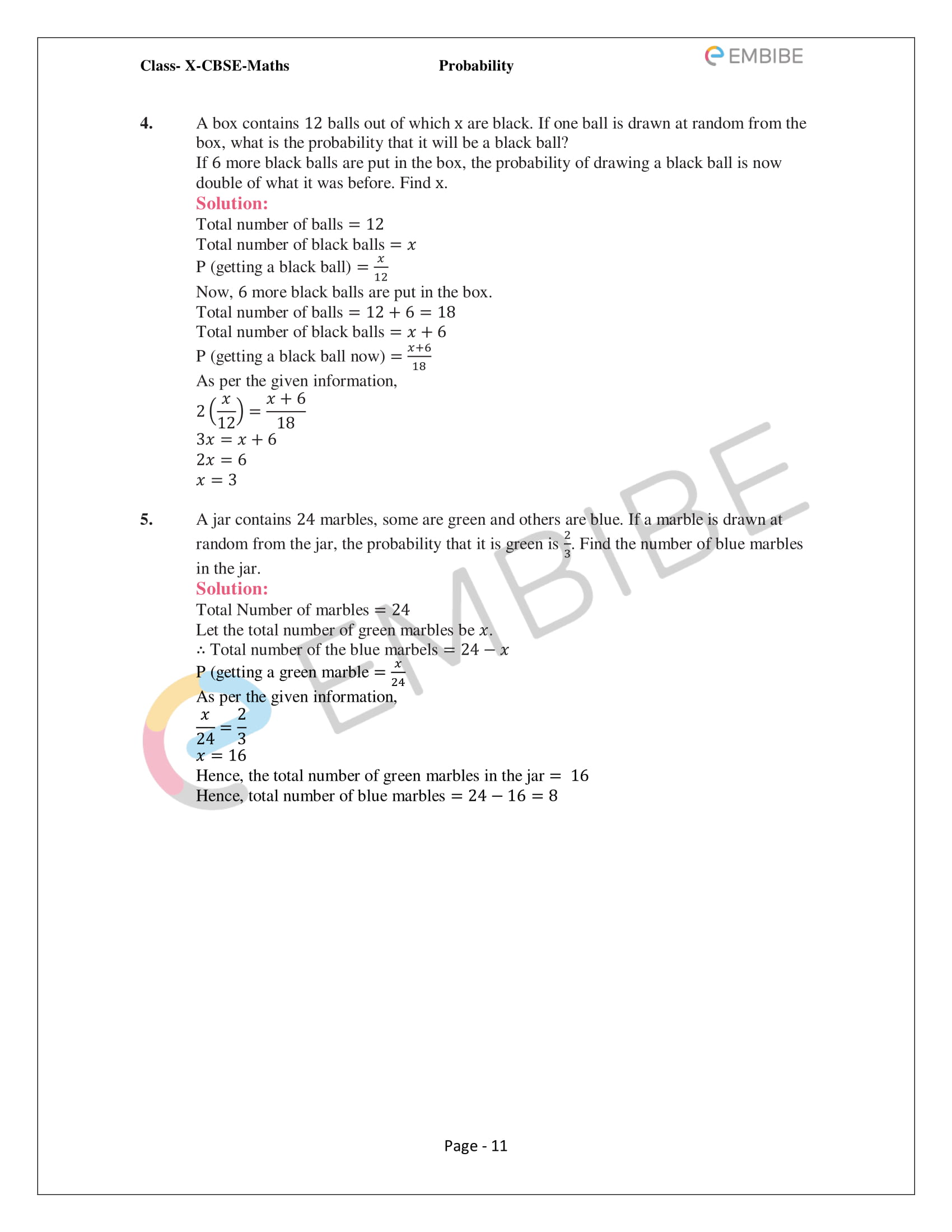 CBSE NCERT Solutions For Class 10 Maths Chapter 15 - Probability - 11