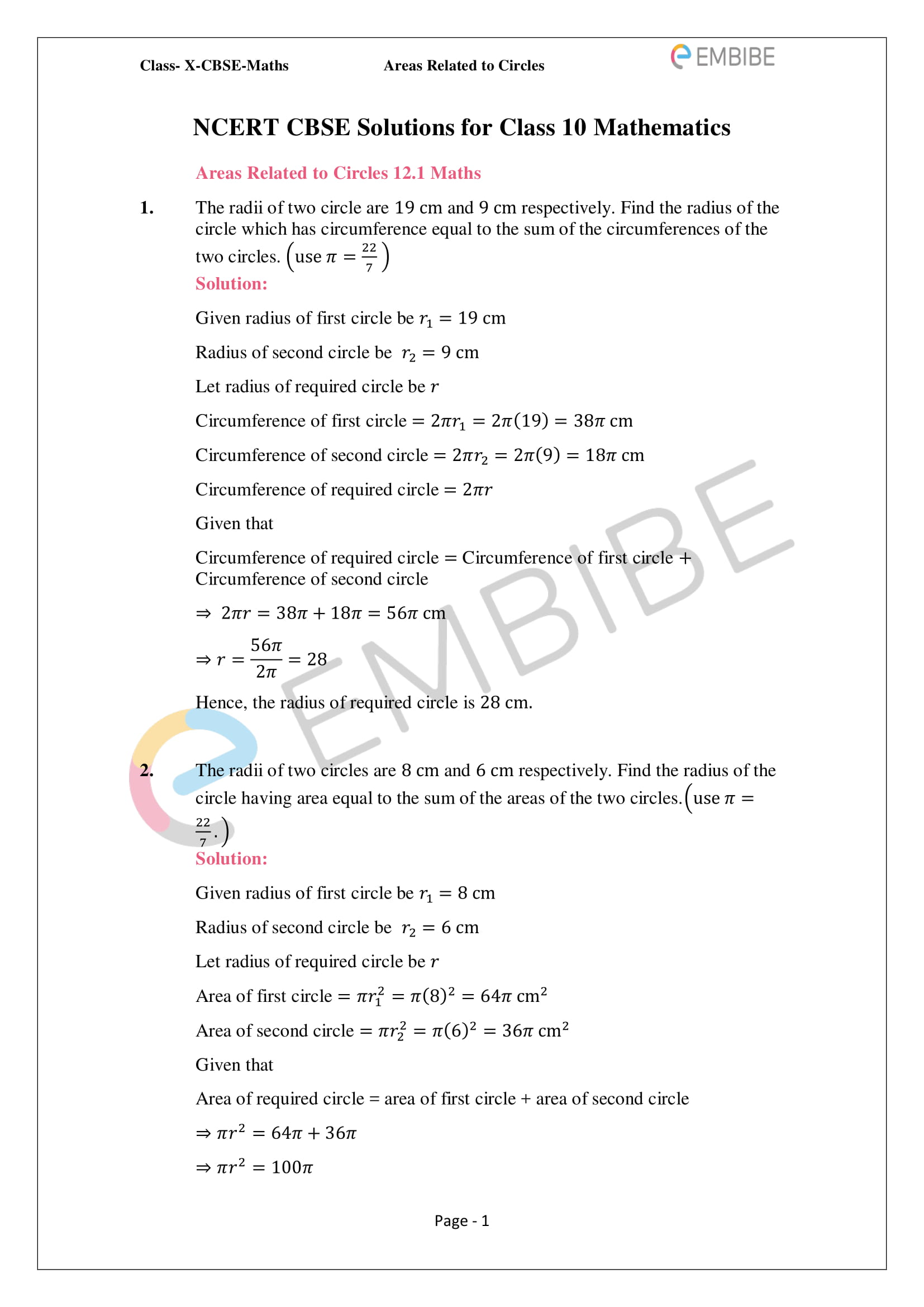 CBSE NCERT Solutions For Class 10 Maths Chapter 12 - Areas Related To Circle - 1