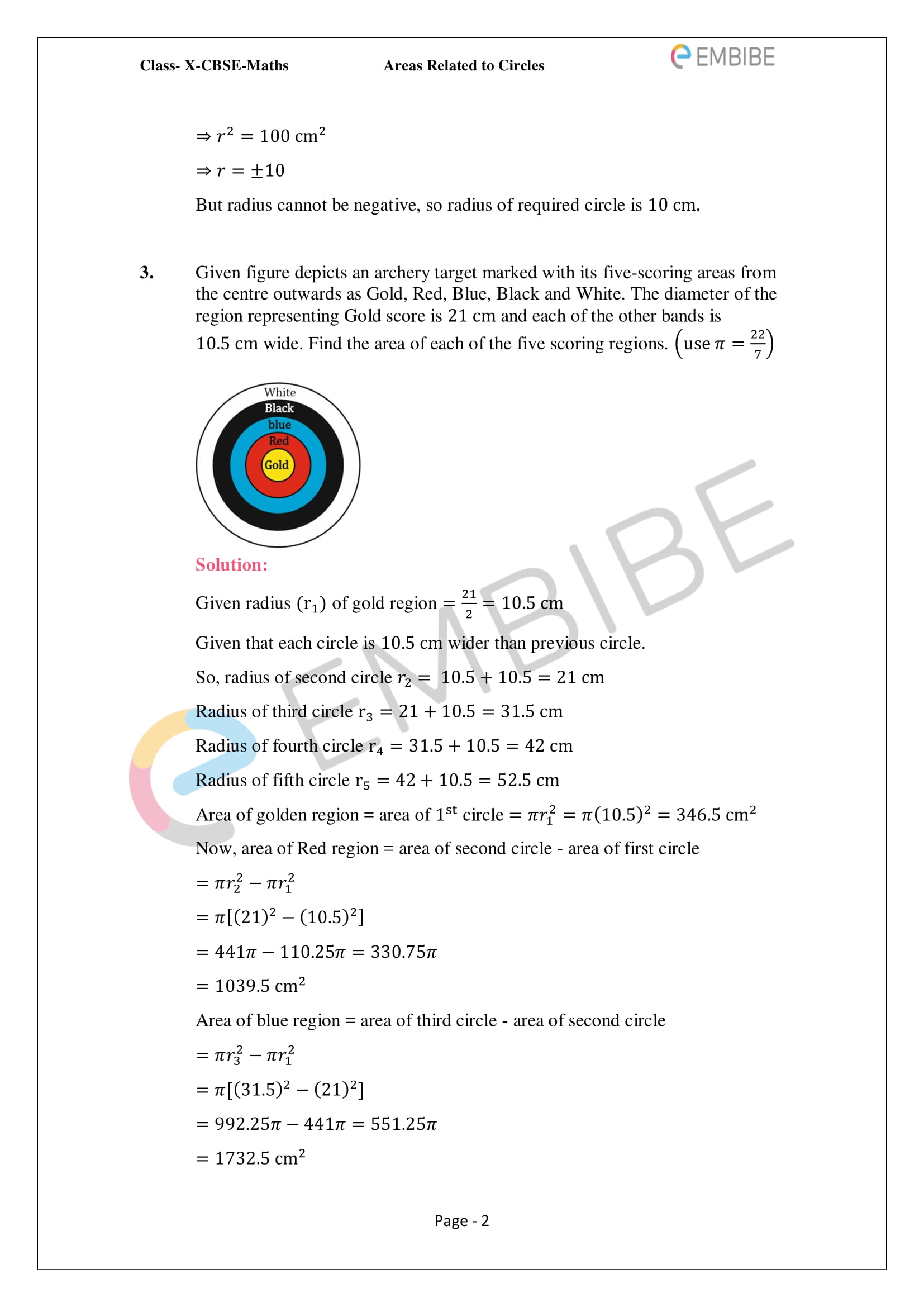 CBSE NCERT Solutions For Class 10 Maths Chapter 12 - Areas Related To Circle - 2