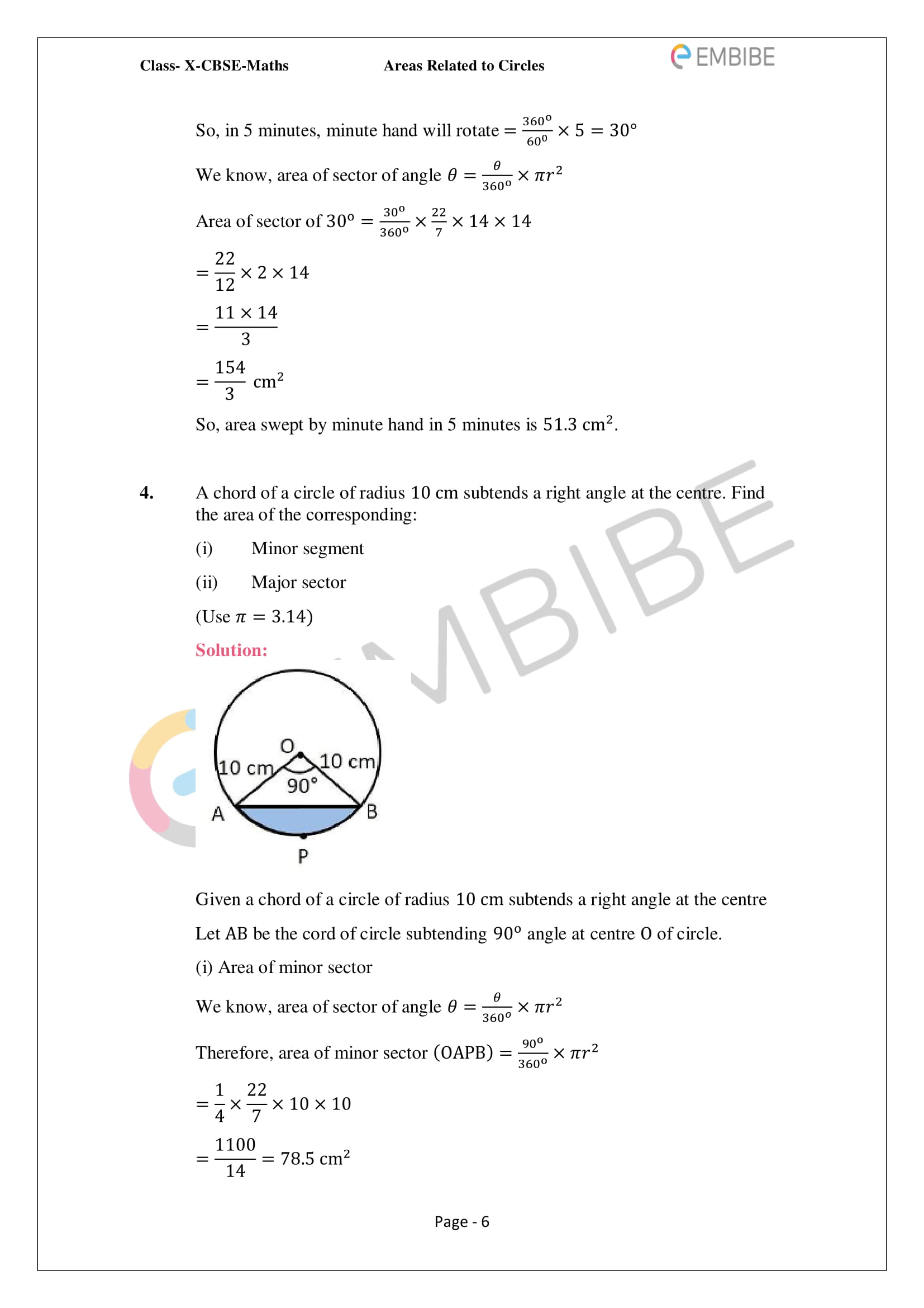 CBSE NCERT Solutions For Class 10 Maths Chapter 12 - Areas Related To Circle - 6