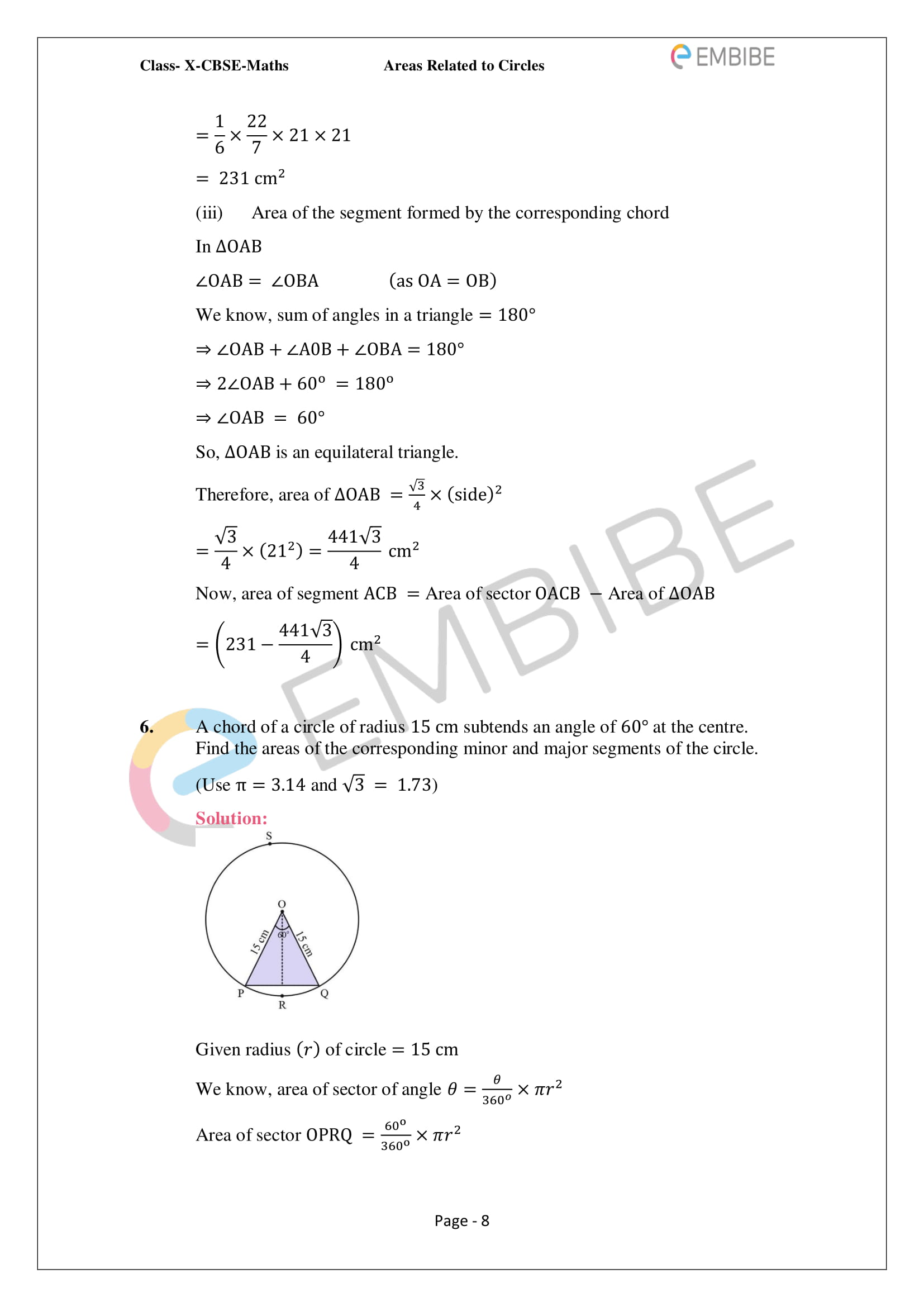CBSE NCERT Solutions For Class 10 Maths Chapter 12 - Areas Related To Circle - 8