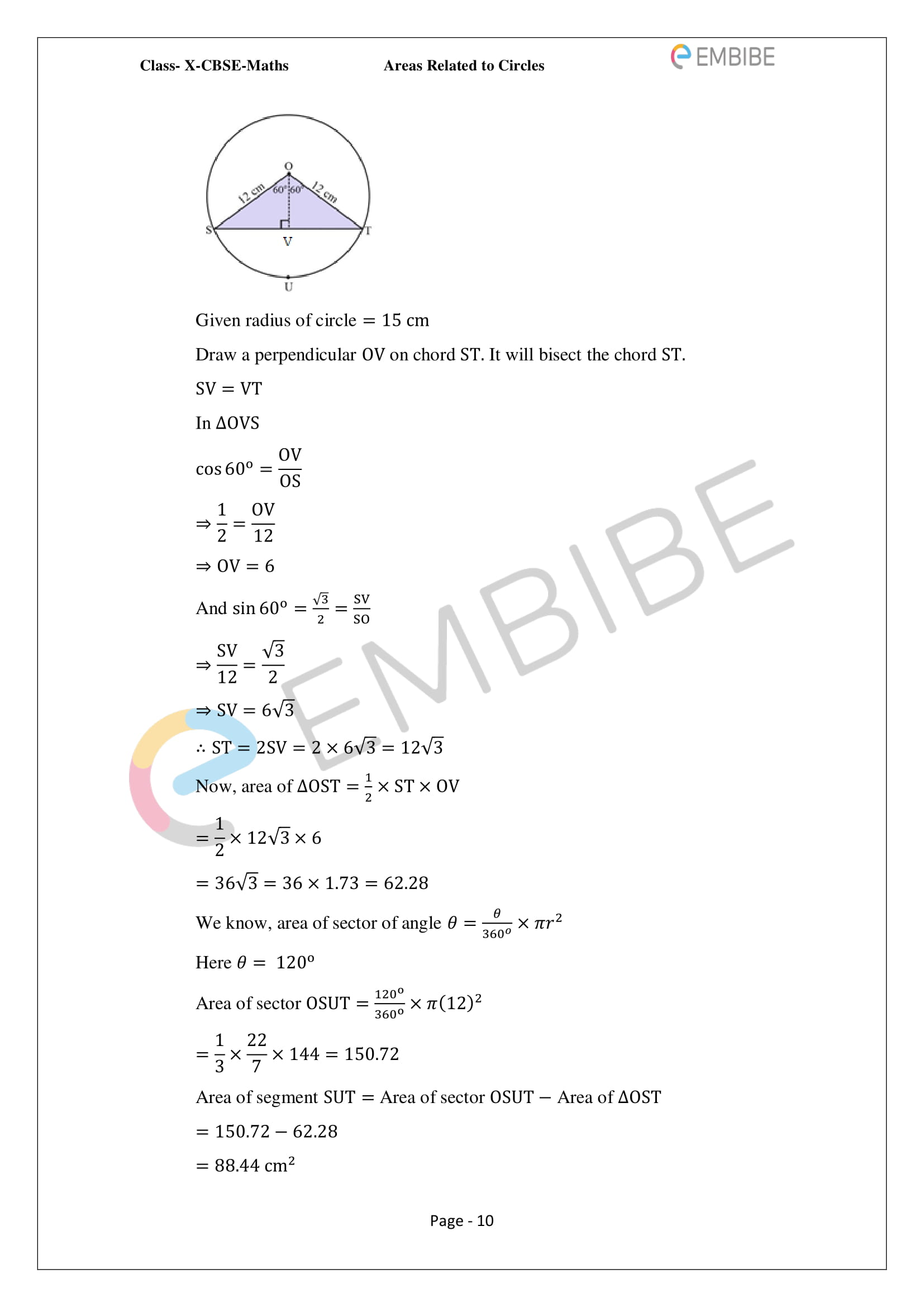 CBSE NCERT Solutions For Class 10 Maths Chapter 12 - Areas Related To Circle - 10