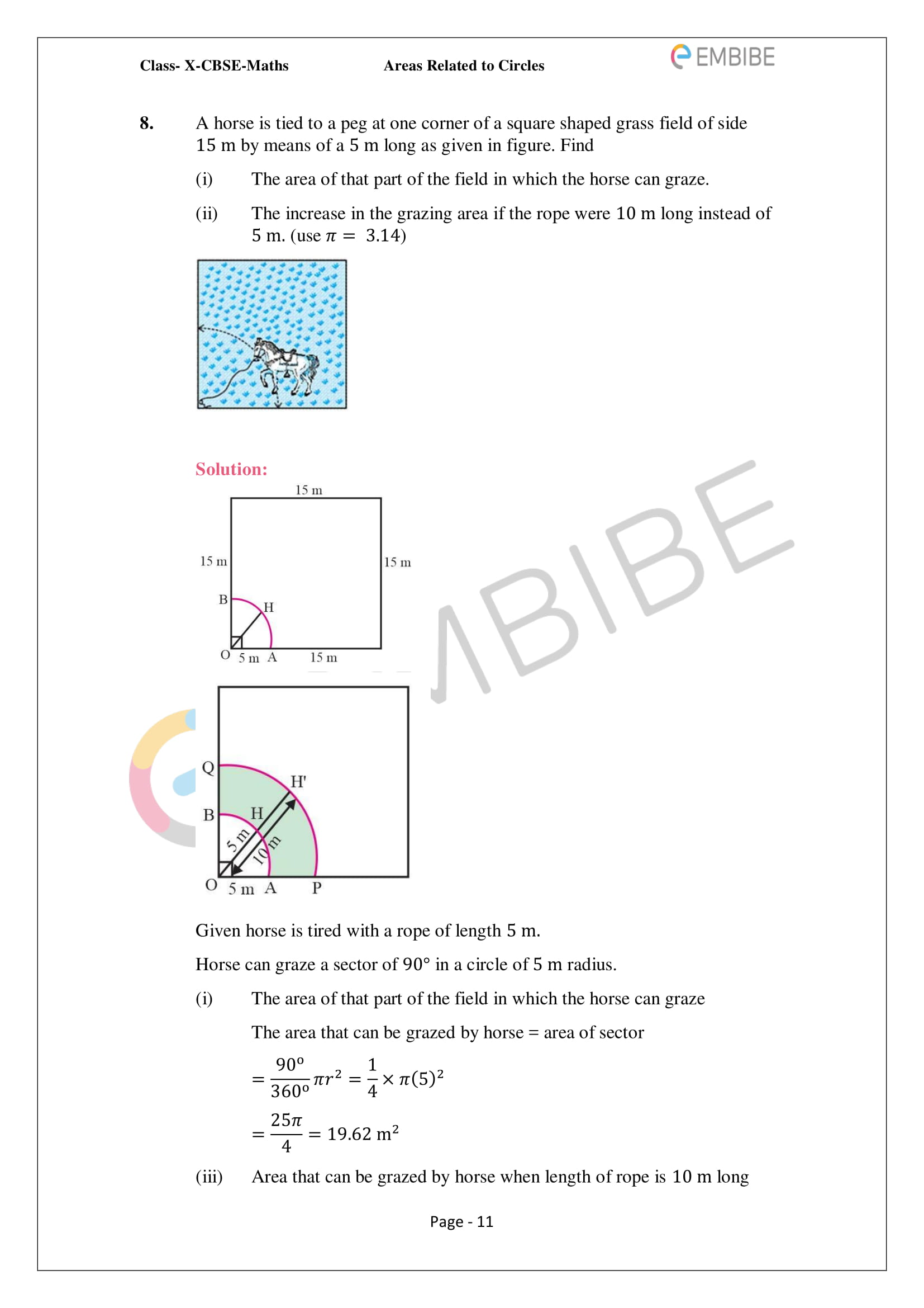 CBSE NCERT Solutions For Class 10 Maths Chapter 12 - Areas Related To Circle - 11