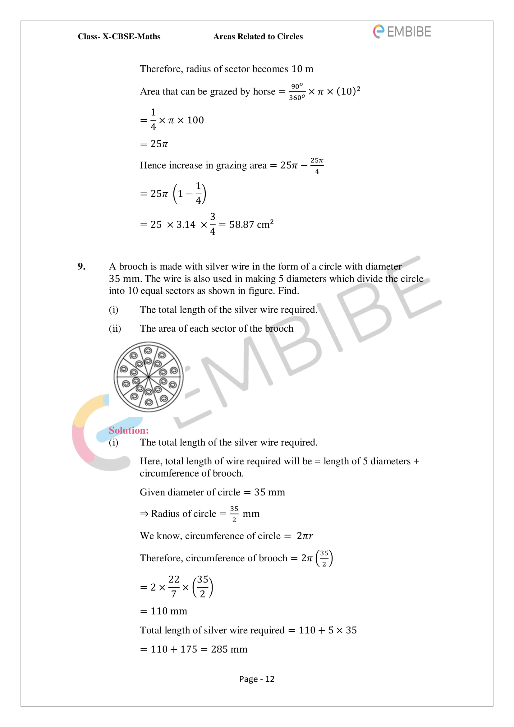 CBSE NCERT Solutions For Class 10 Maths Chapter 12 - Areas Related To Circle - 12