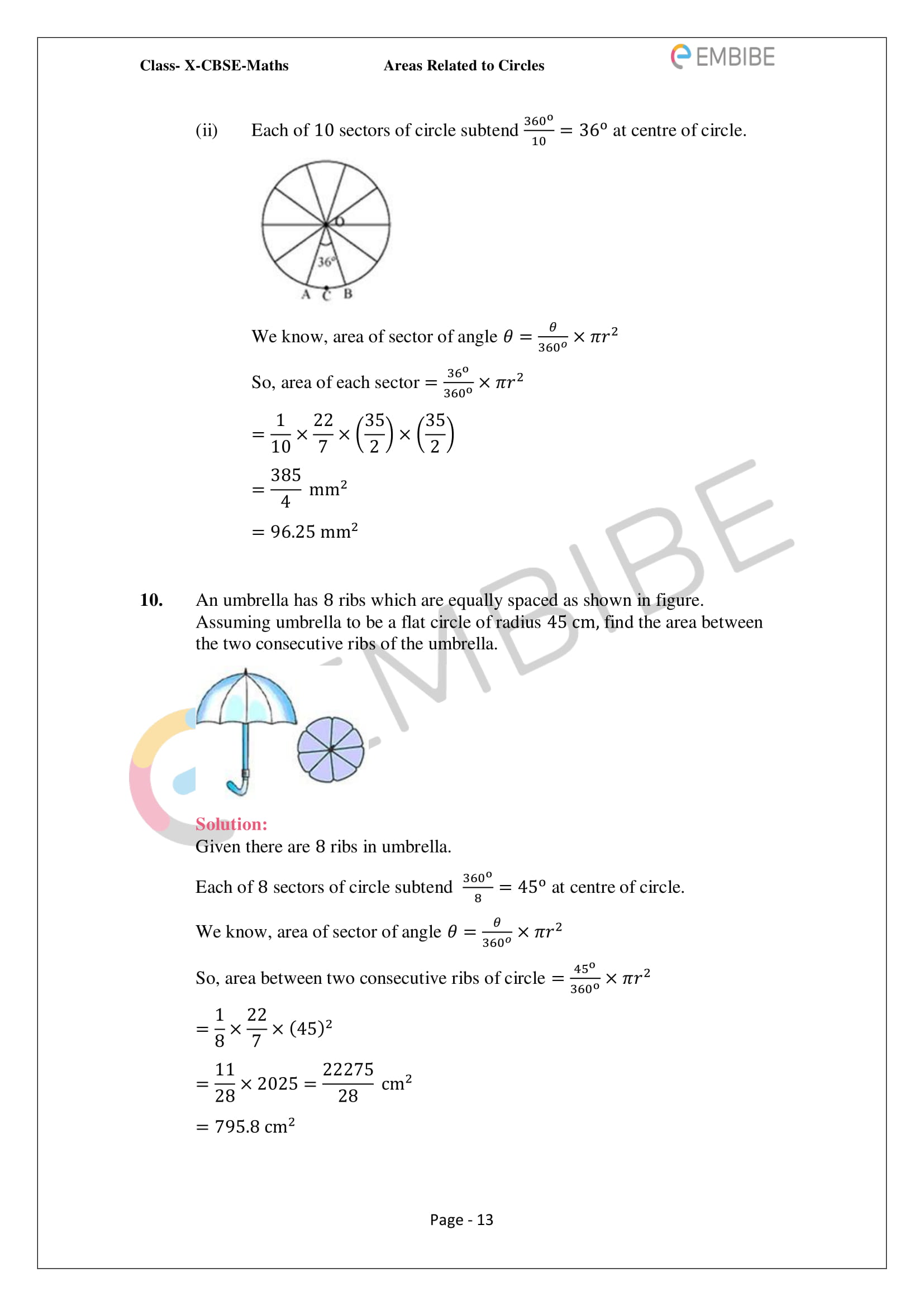 CBSE NCERT Solutions For Class 10 Maths Chapter 12 - Areas Related To Circle - 13