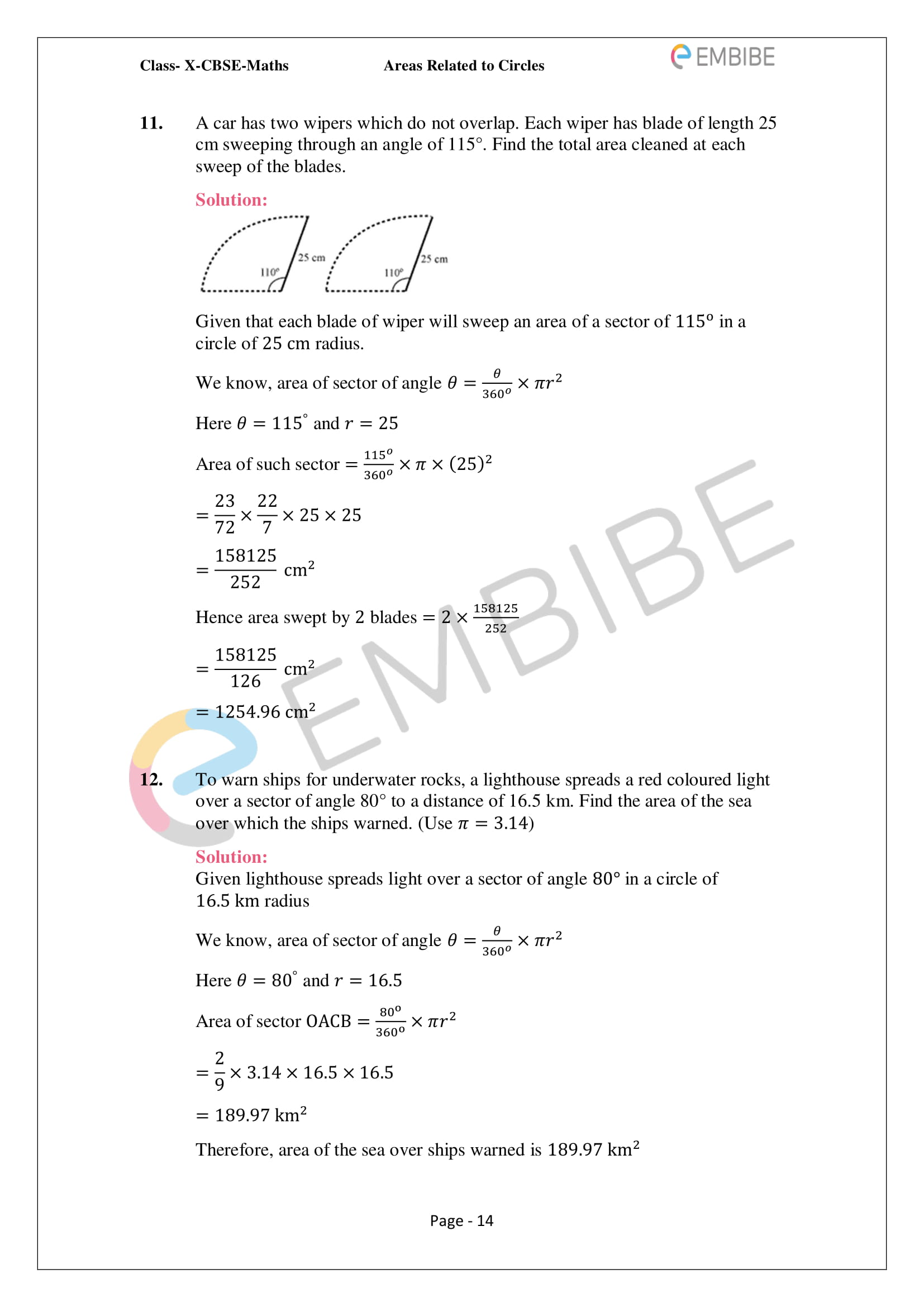 CBSE NCERT Solutions For Class 10 Maths Chapter 12 - Areas Related To Circle - 14