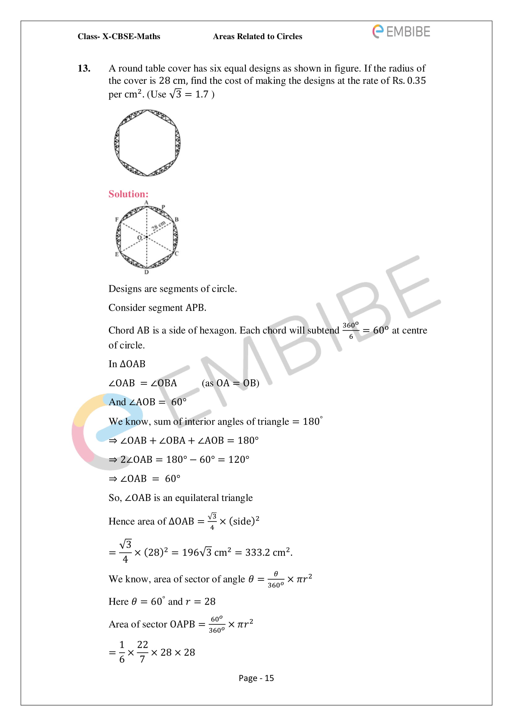 CBSE NCERT Solutions For Class 10 Maths Chapter 12 - Areas Related To Circle - 15