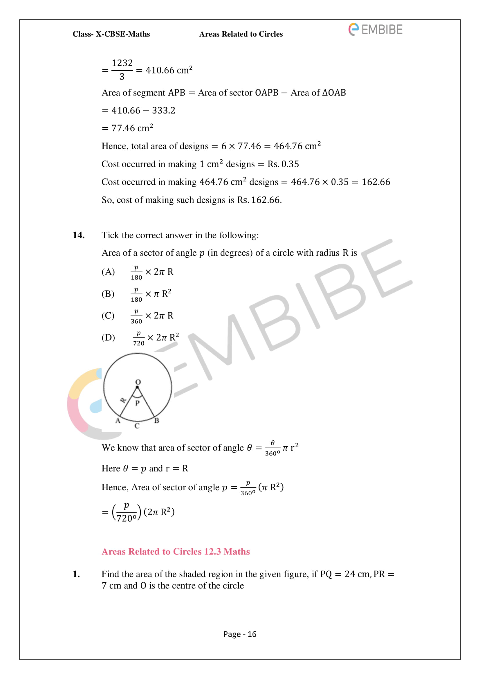 CBSE NCERT Solutions For Class 10 Maths Chapter 12 - Areas Related To Circle - 16