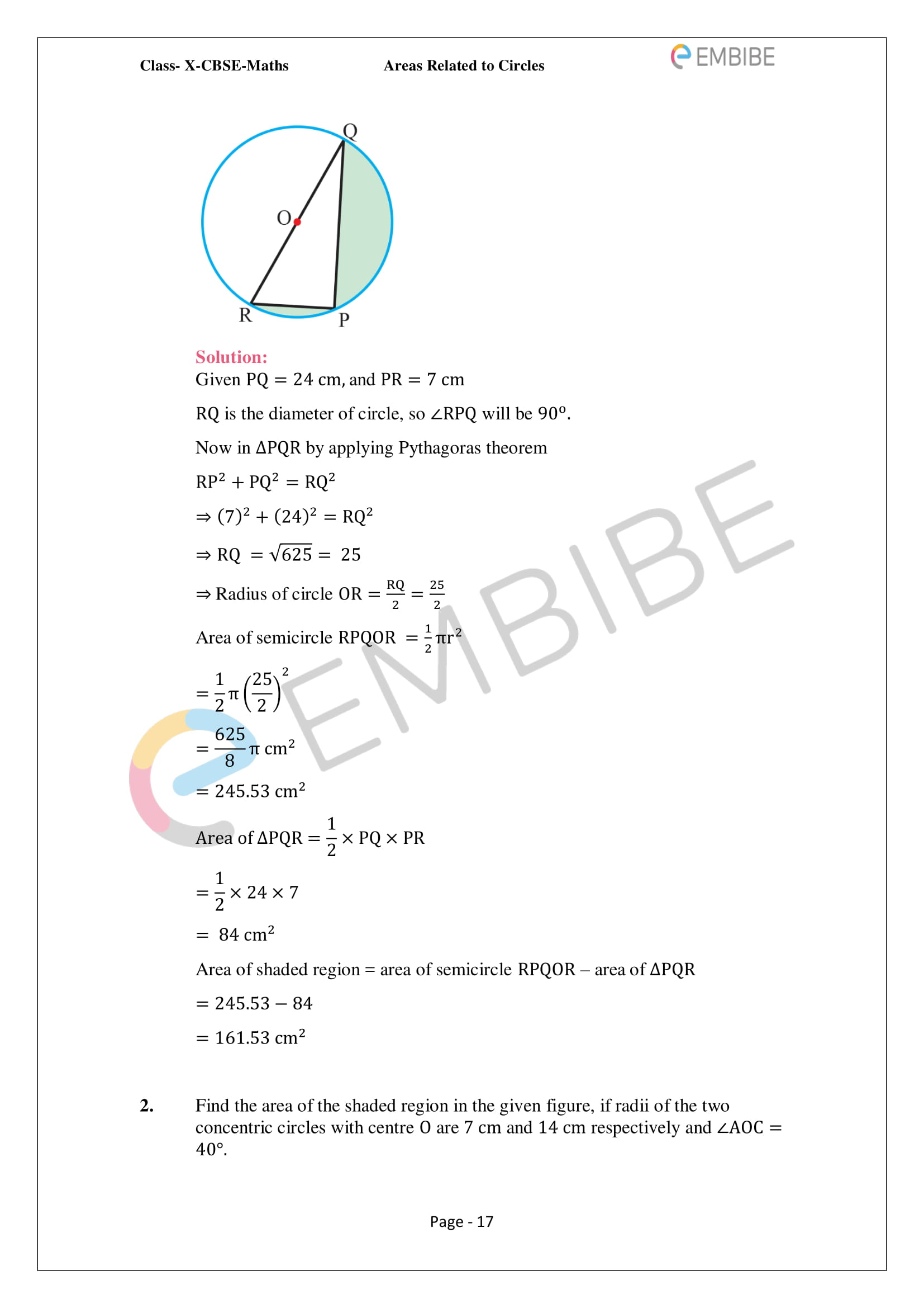 CBSE NCERT Solutions For Class 10 Maths Chapter 12 - Areas Related To Circle - 17