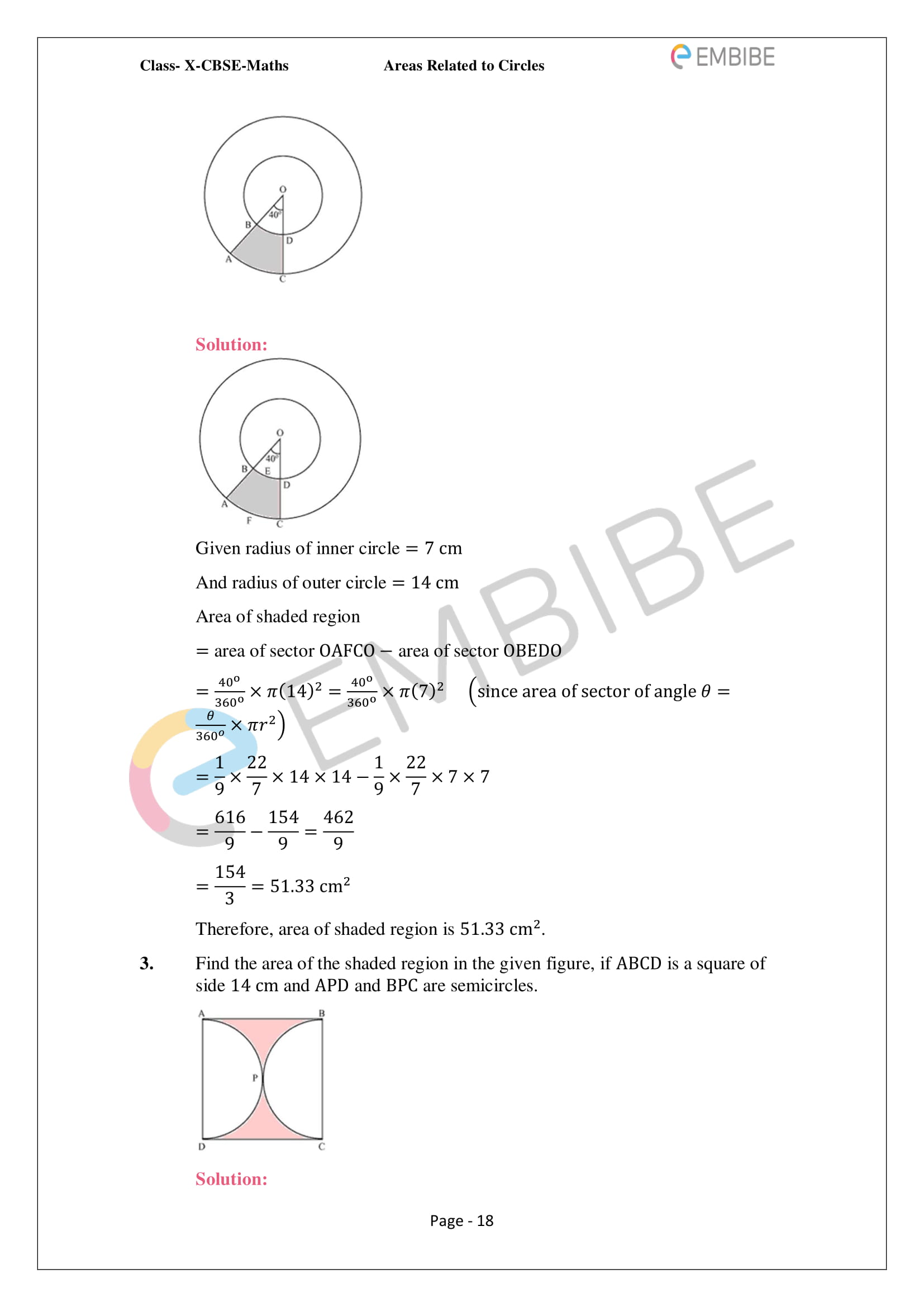 CBSE NCERT Solutions For Class 10 Maths Chapter 12 - Areas Related To Circle - 18