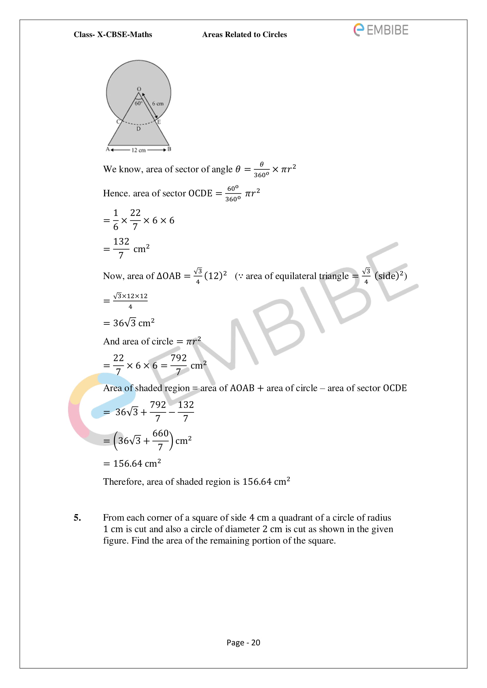 CBSE NCERT Solutions For Class 10 Maths Chapter 12 - Areas Related To Circle - 20