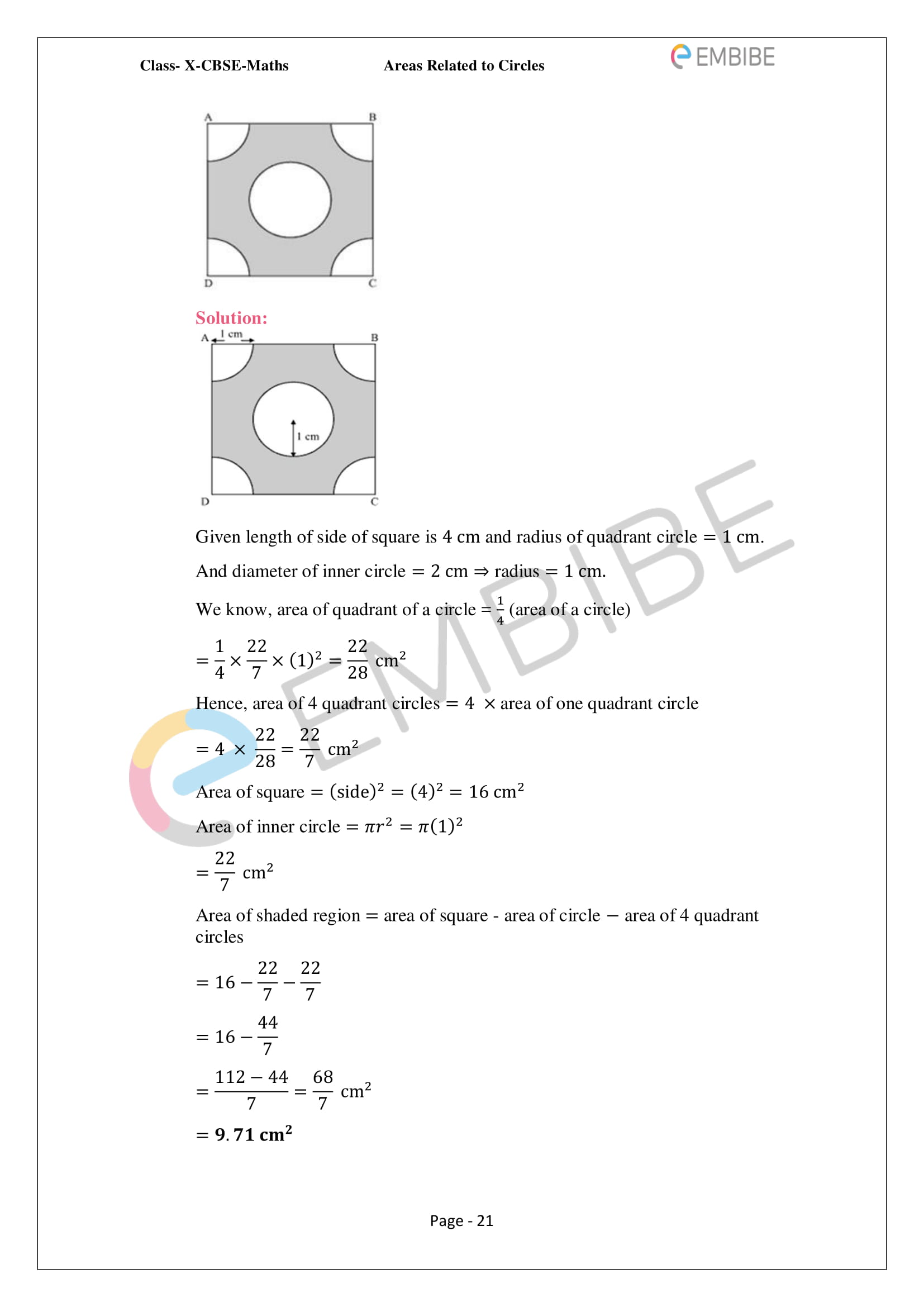 CBSE NCERT Solutions For Class 10 Maths Chapter 12 - Areas Related To Circle - 21