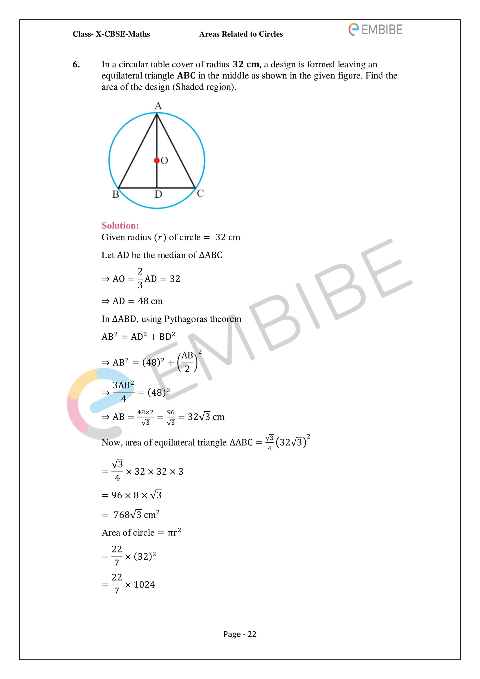 CBSE NCERT Solutions For Class 10 Maths Chapter 12 - Areas Related To Circle - 22