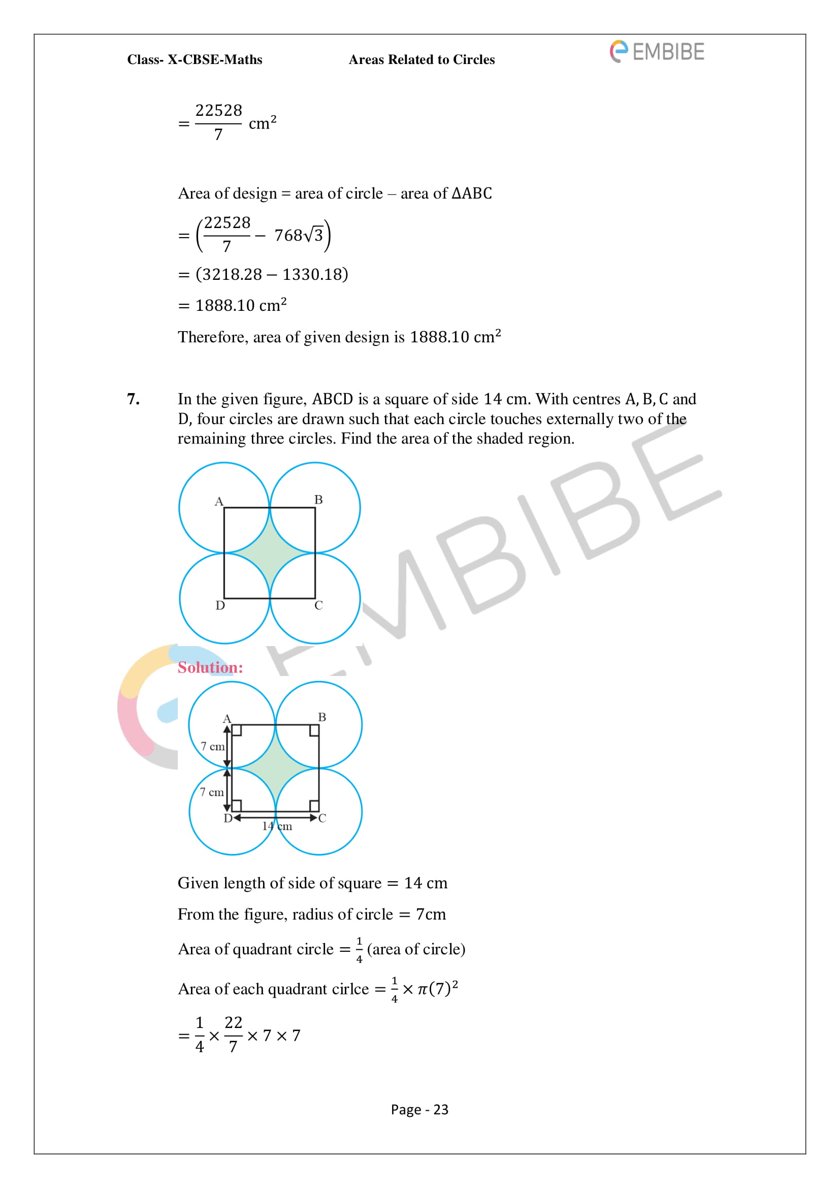 CBSE NCERT Solutions For Class 10 Maths Chapter 12 - Areas Related To Circle - 23