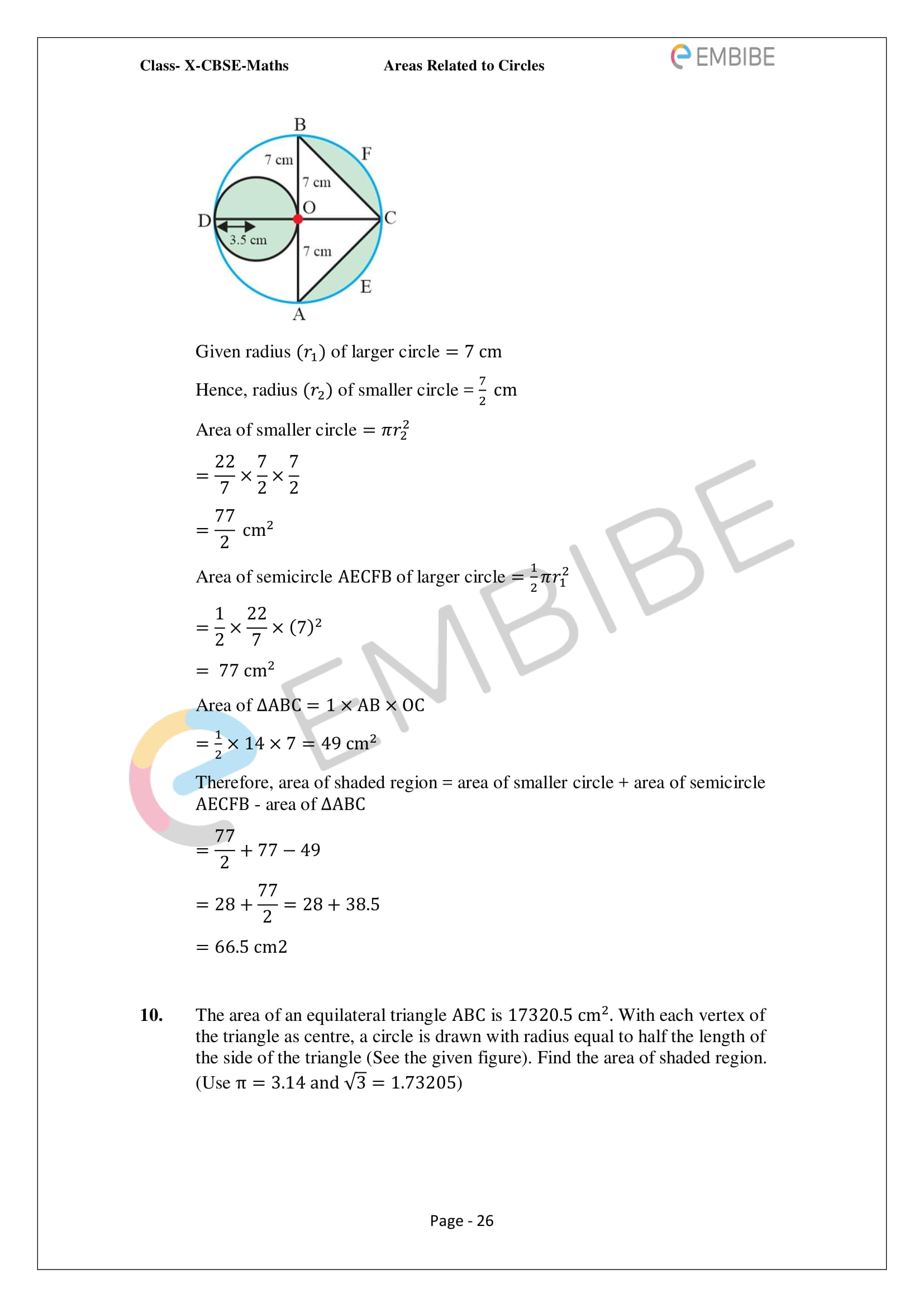 CBSE NCERT Solutions For Class 10 Maths Chapter 12 - Areas Related To Circle - 28