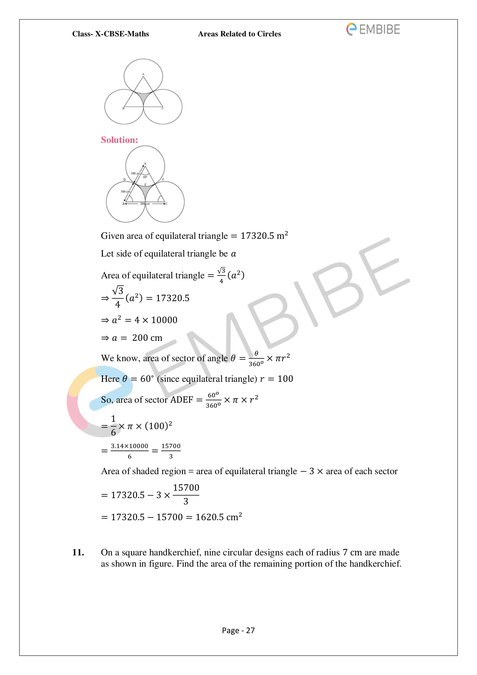 CBSE NCERT Solutions For Class 10 Maths Chapter 12 - Areas Related To Circle - 27
