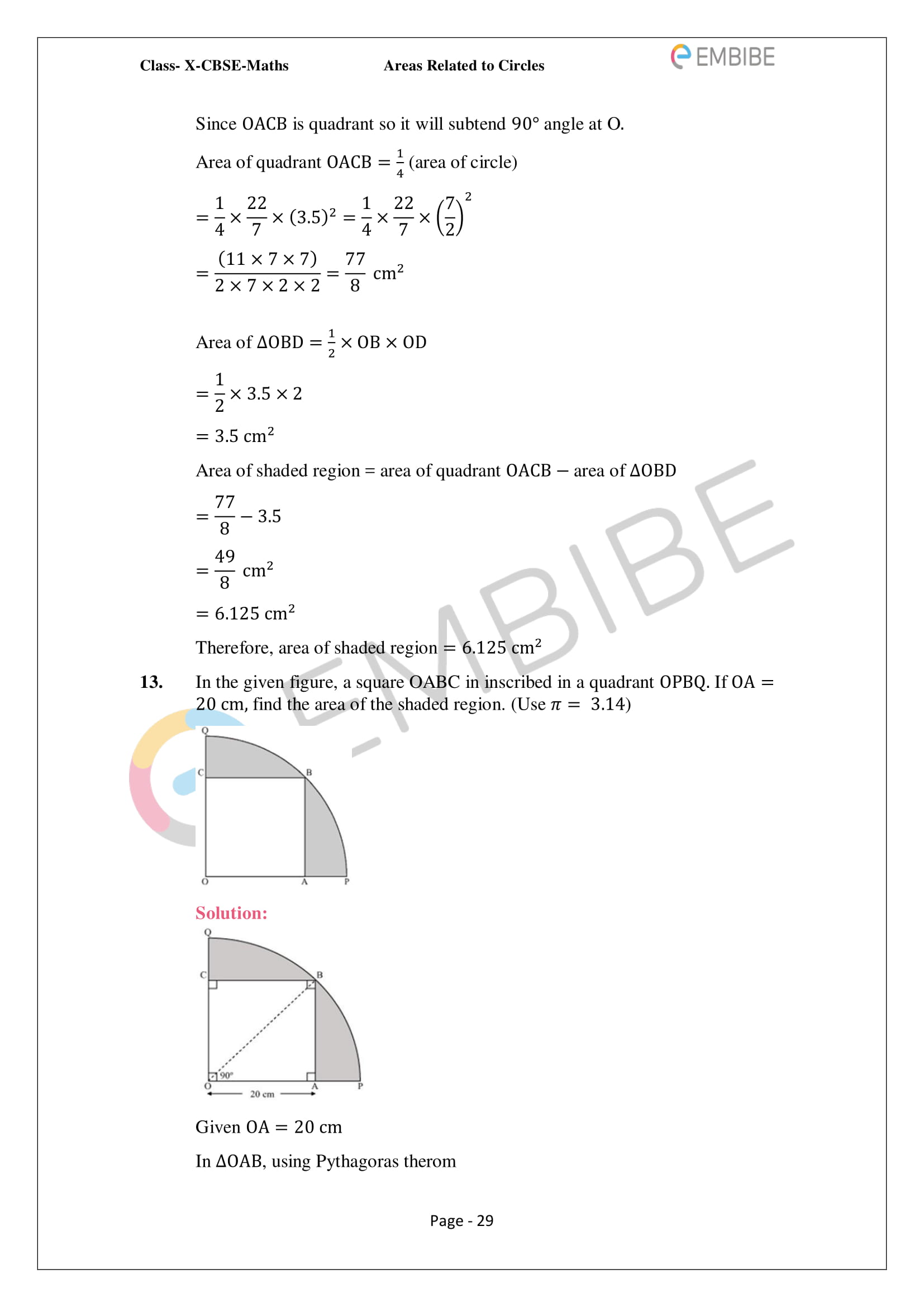 CBSE NCERT Solutions For Class 10 Maths Chapter 12 - Areas Related To Circle - 29