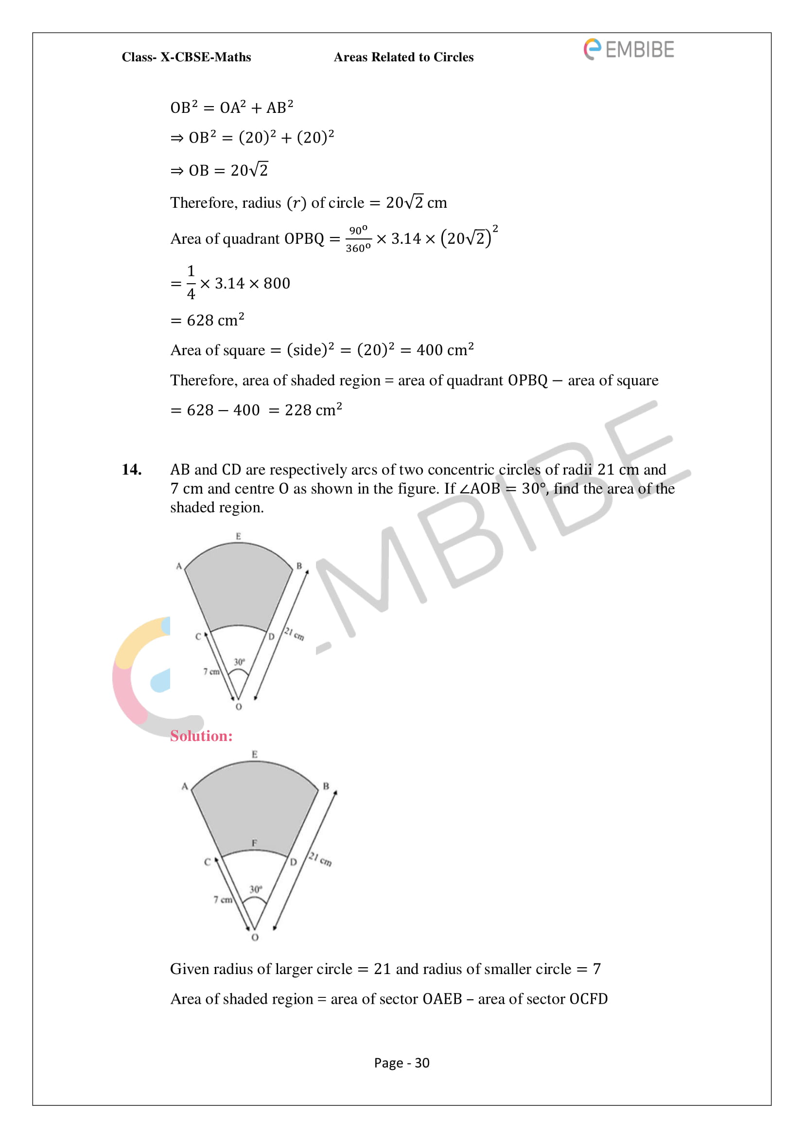 CBSE NCERT Solutions For Class 10 Maths Chapter 12 - Areas Related To Circle - 30