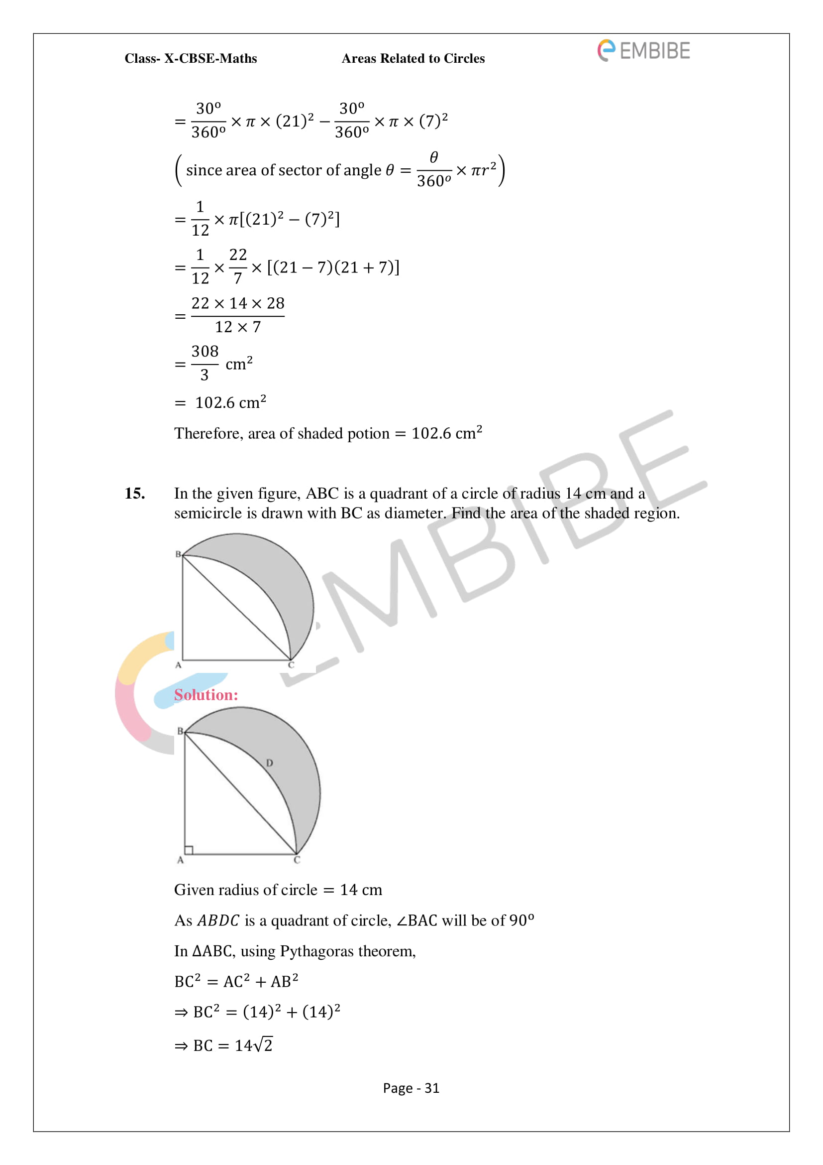 CBSE NCERT Solutions For Class 10 Maths Chapter 12 - Areas Related To Circle - 31