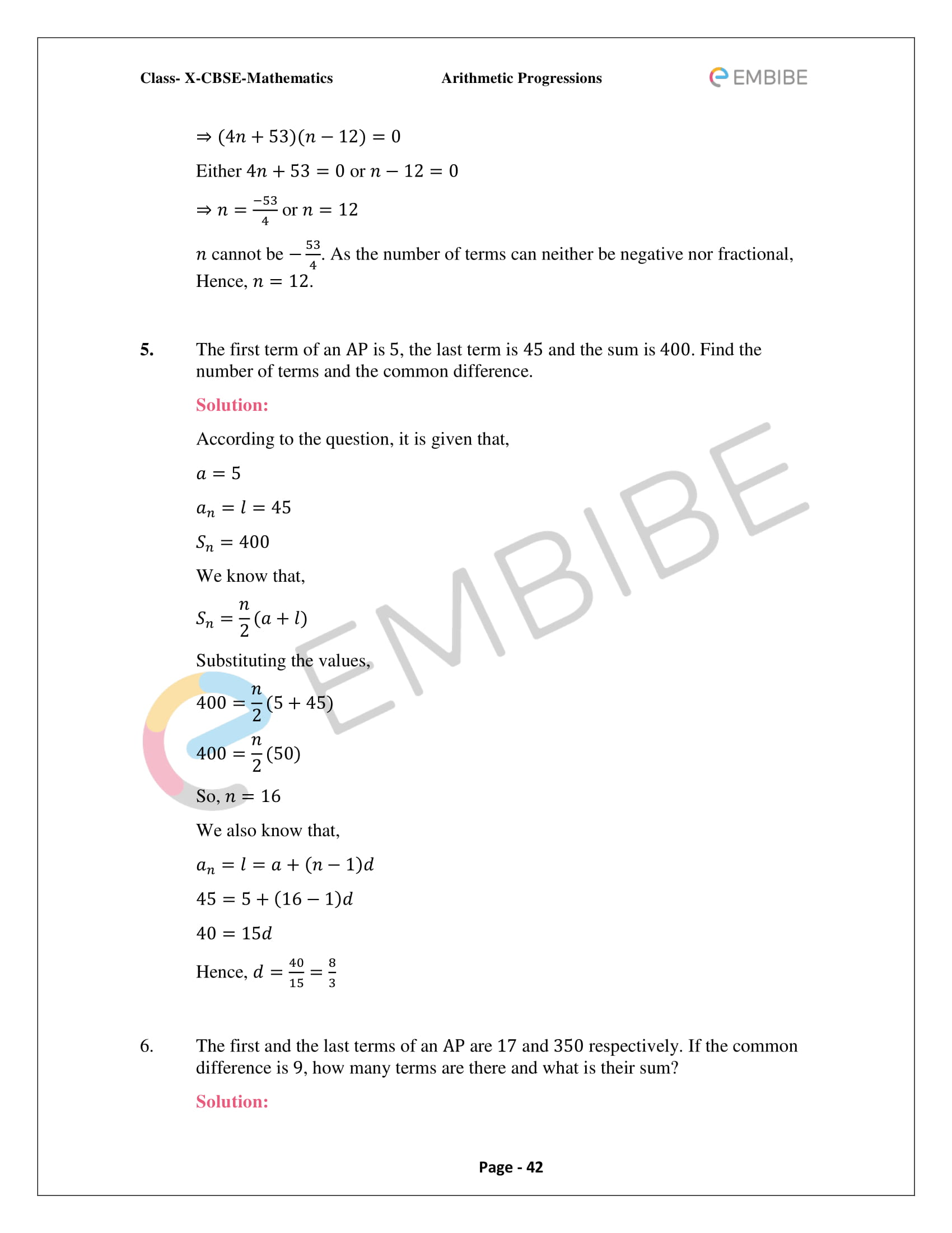 CBSE NCERT Solutions for Class 10 Maths Chapter 5 – Arithmetic Progression