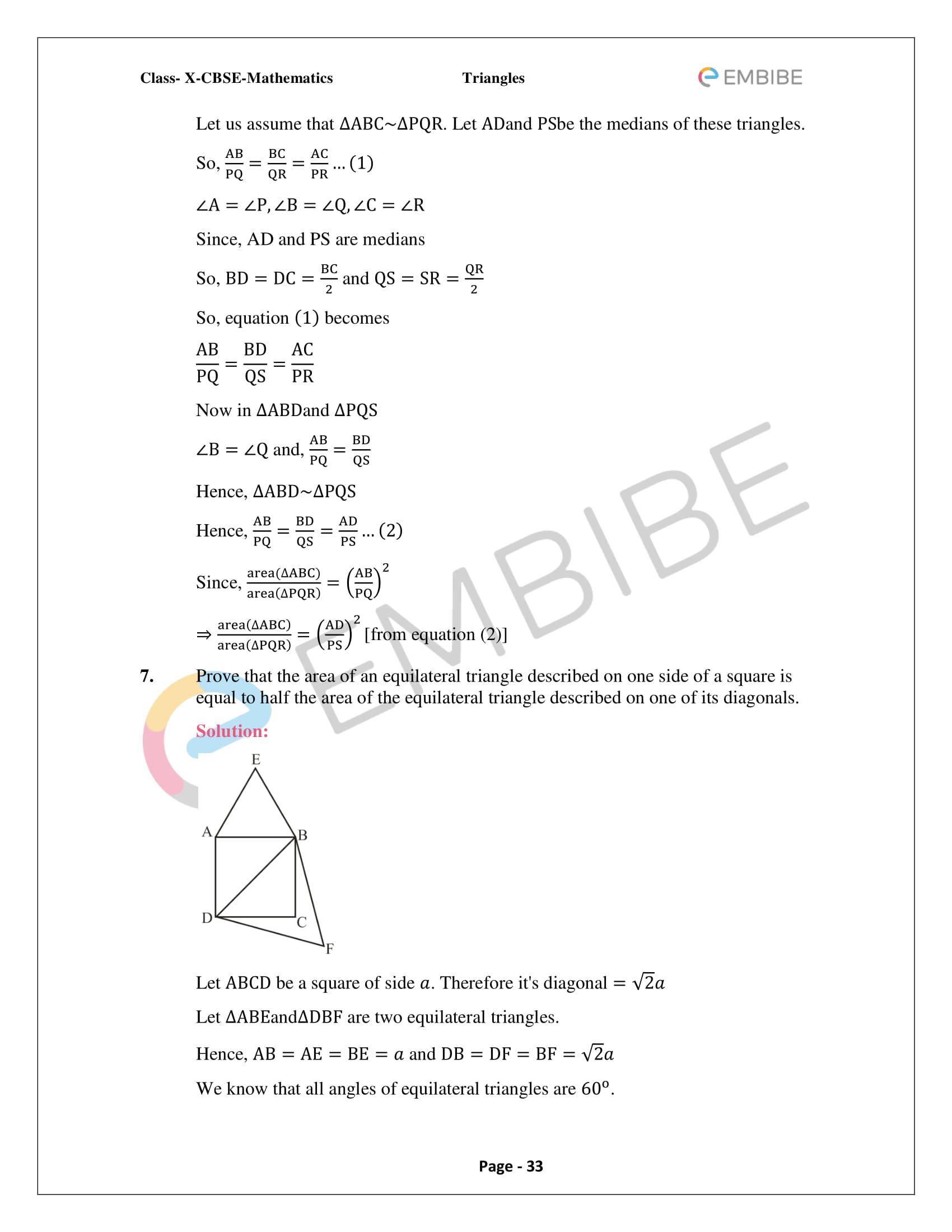 CBSE NCERT Solutions For Class 10 Maths Chapter 6 – Triangles
