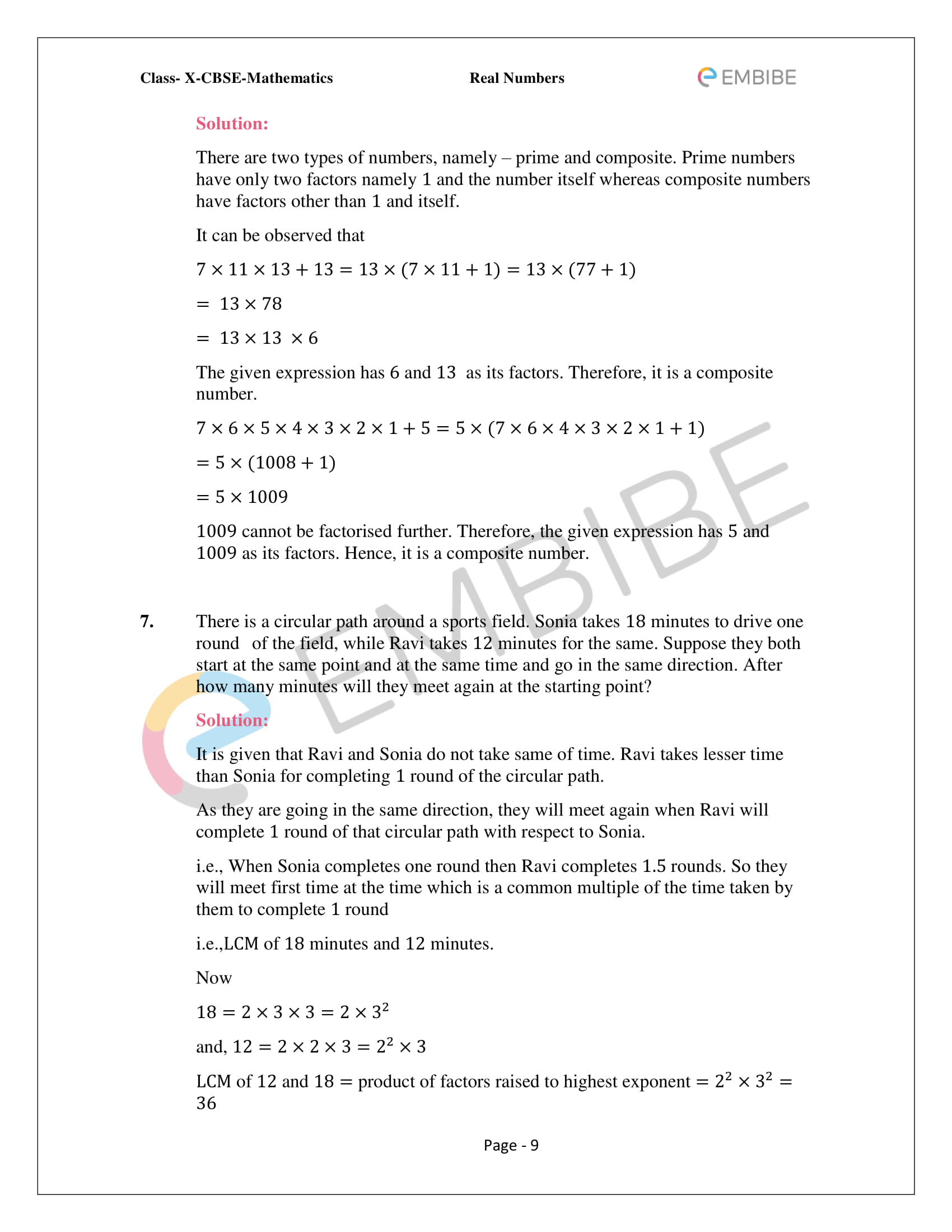 CBSE NCERT Solutions For Class 10 Maths Chapter 1 - Real Numbers - 9