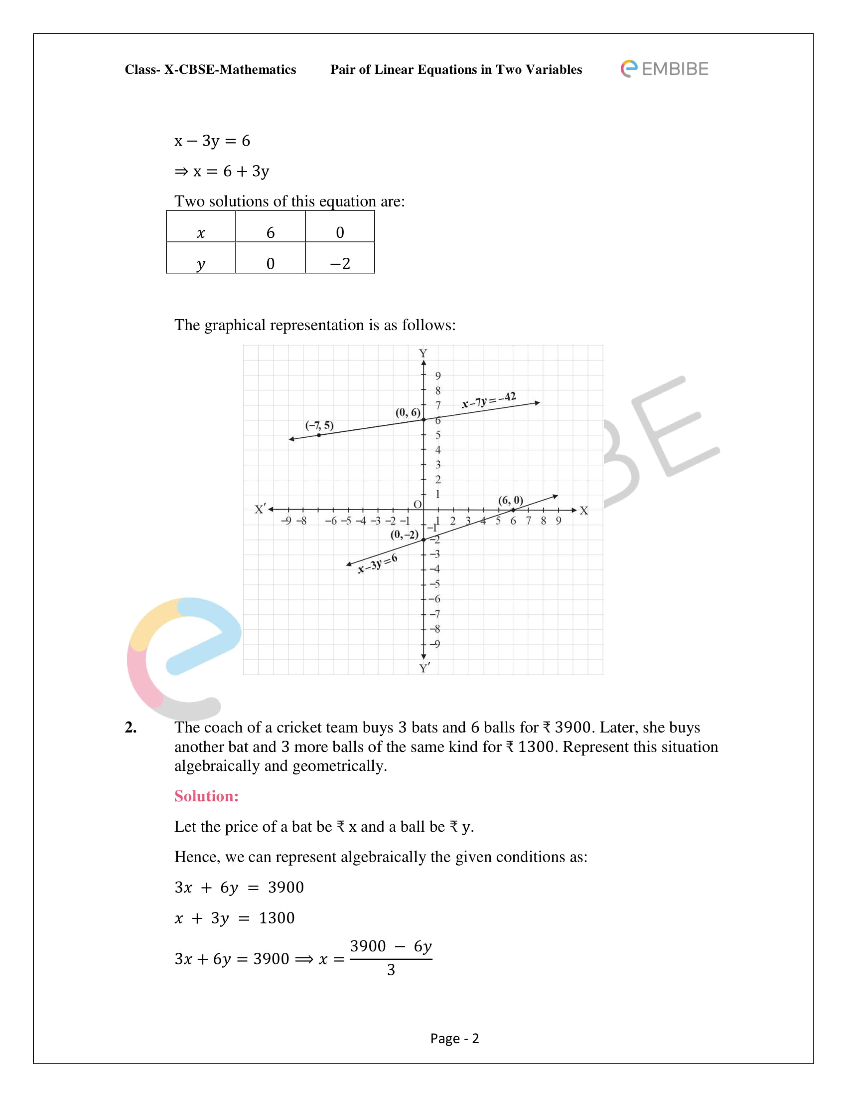 CBSE NCERT Solutions For Class 10 Maths Chapter 3 - Pair of Linear Equations In Two Variables - 2